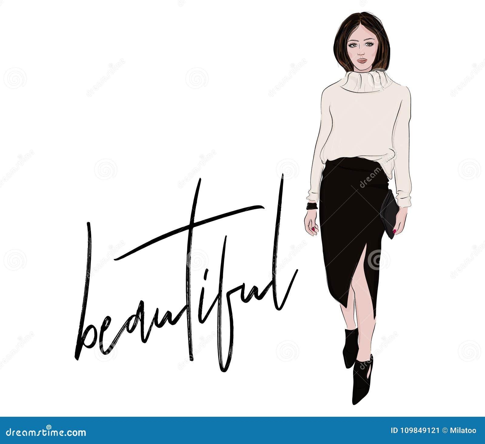 方式草图 被编织的毛线衣和密地裙子偶然企业例证的妇女 杂志画象时髦的神色