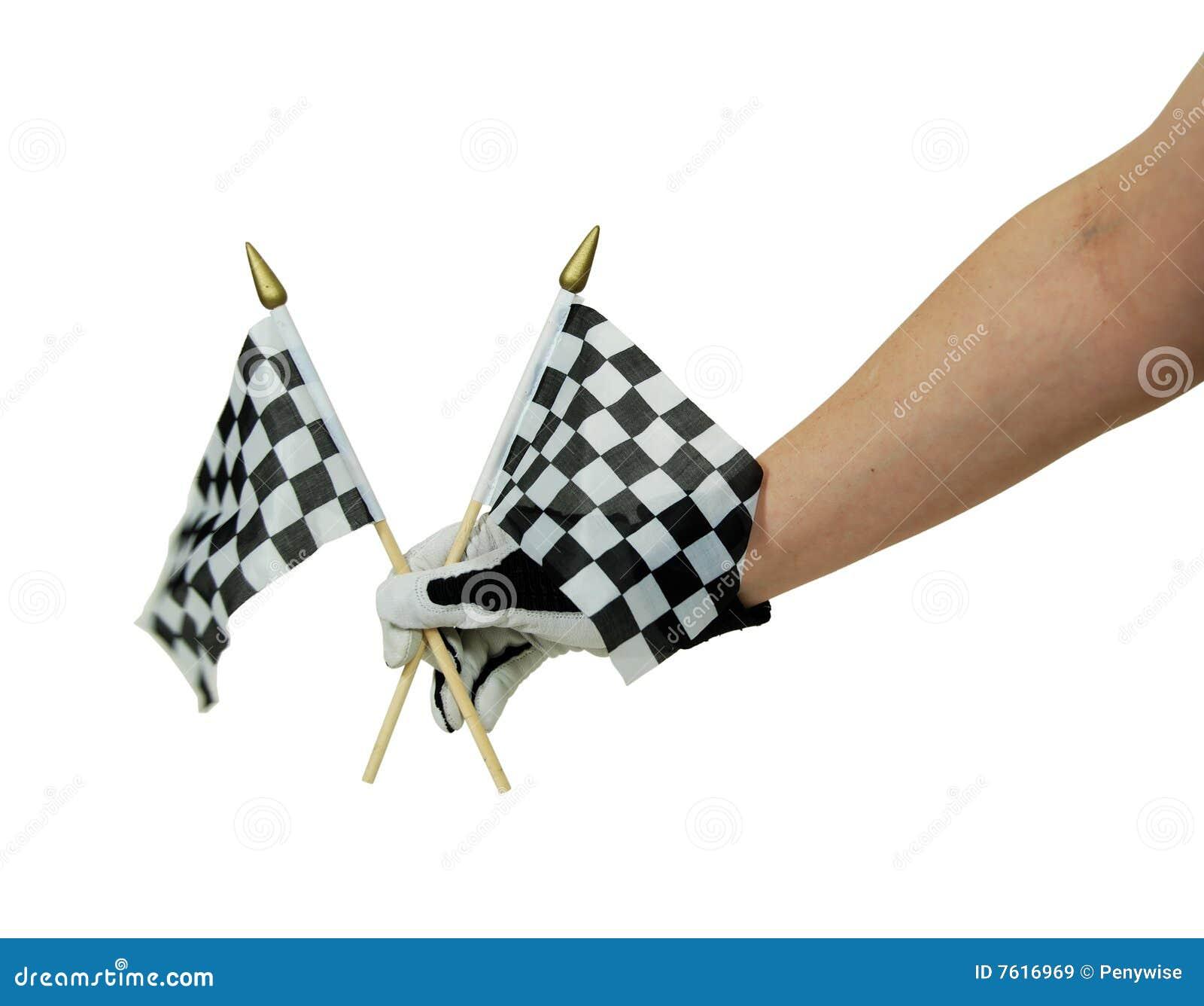 方格标志手套赛跑