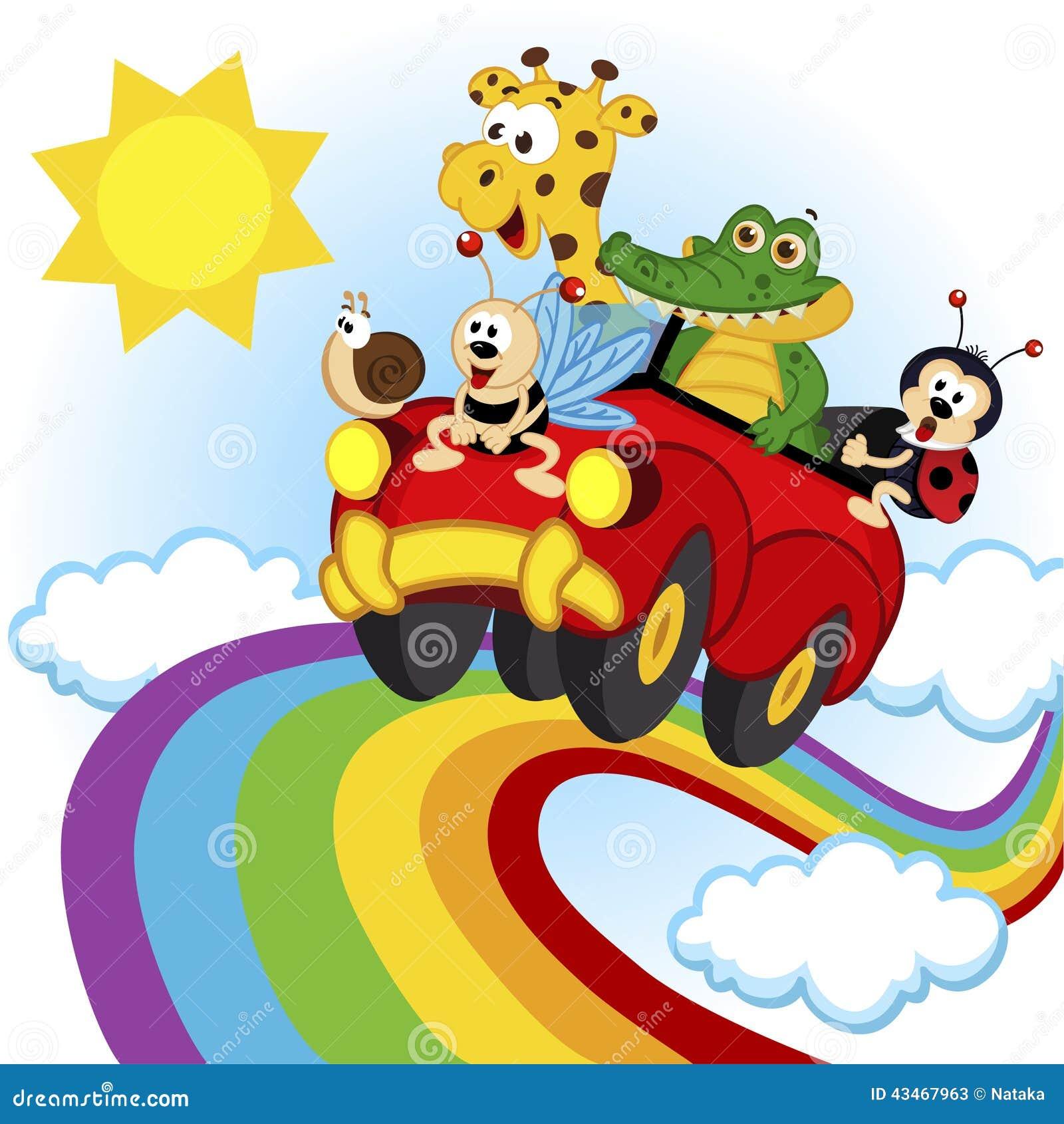 旅行乘在彩虹的汽车的动物