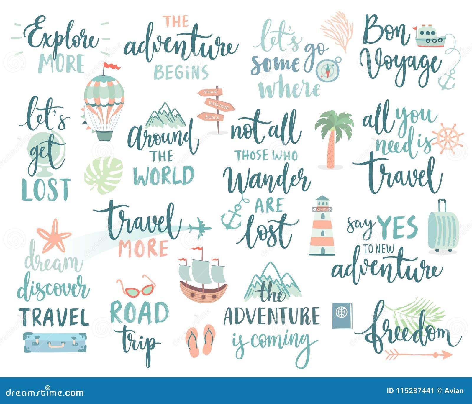 旅行书信设计设置了-手写、旅行、旅途和冒险题材的汇集