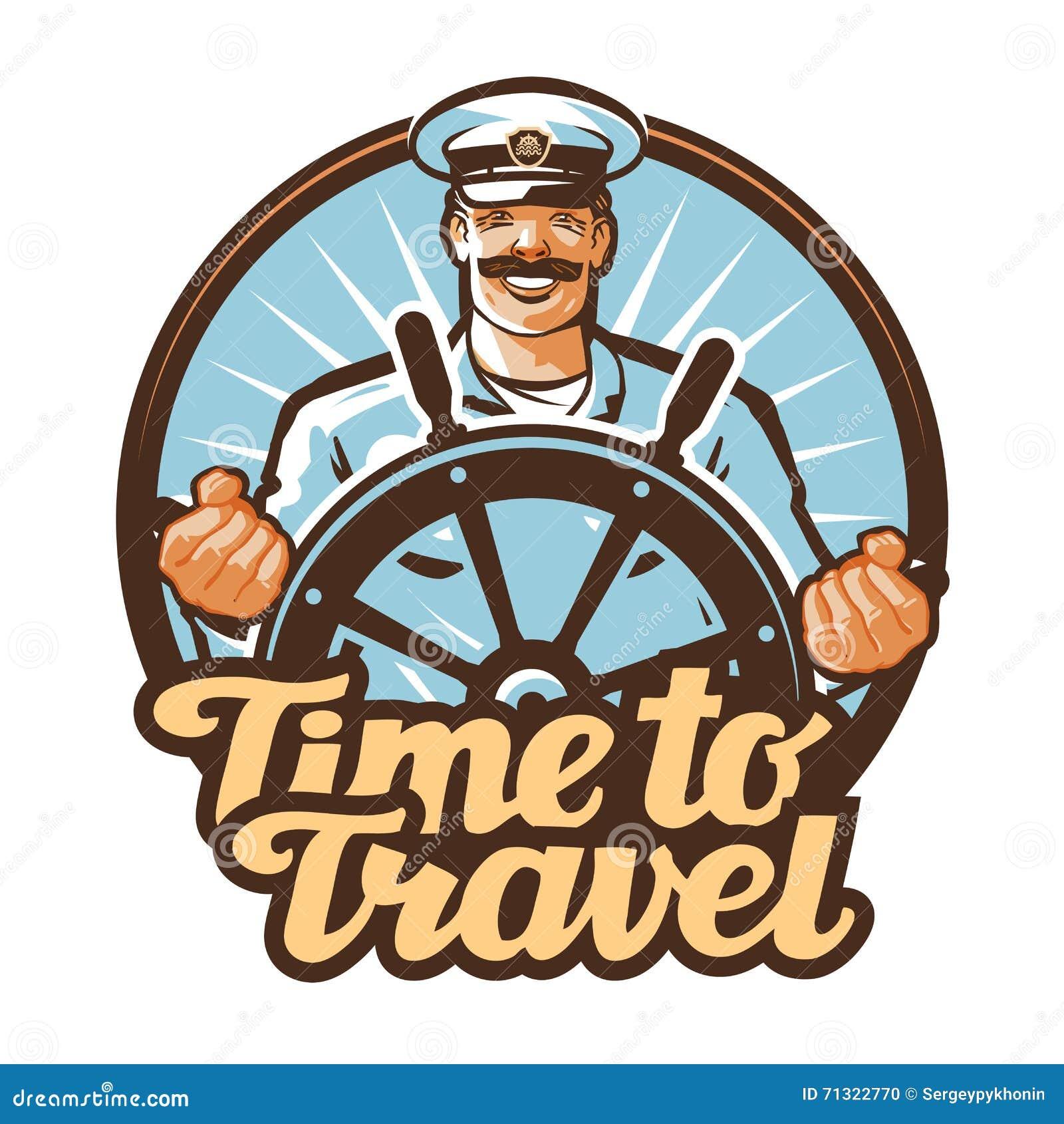 旅行传染媒介商标 旅途,水手,船长象
