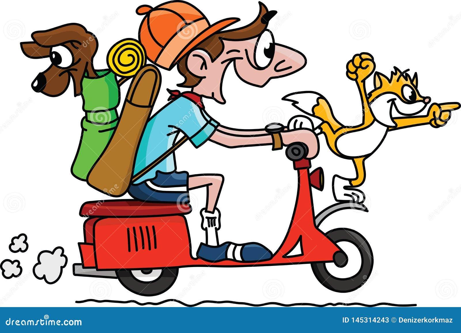 旅行在有他的狗和猫传染媒介的一辆摩托车的动画片人