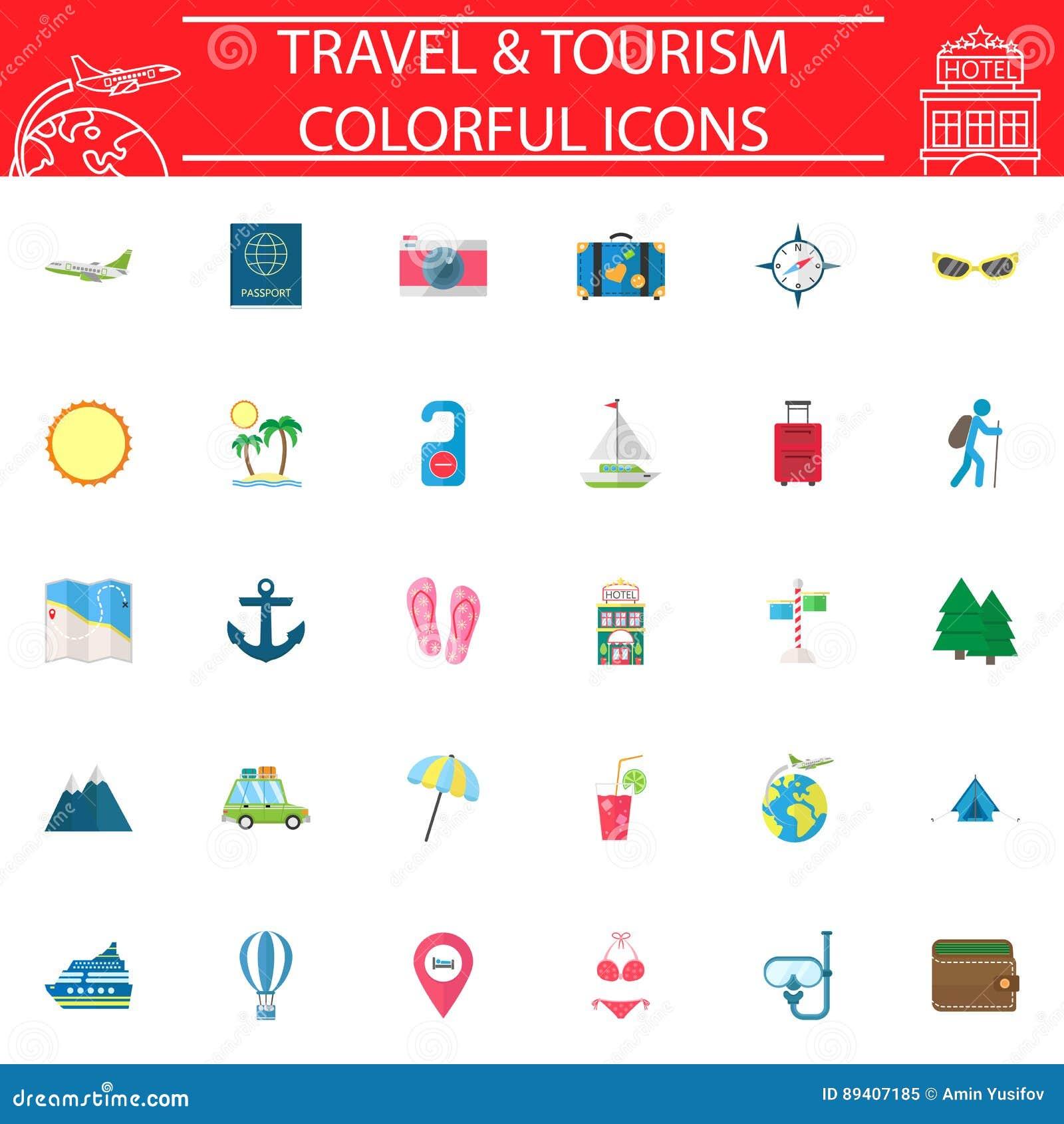 旅行平的象集合,旅行标志汇集,商标例证,运输在白色背景填装了