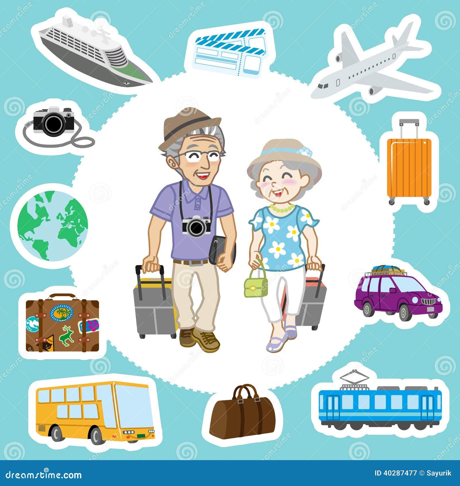 旅行的资深夫妇和运输集合