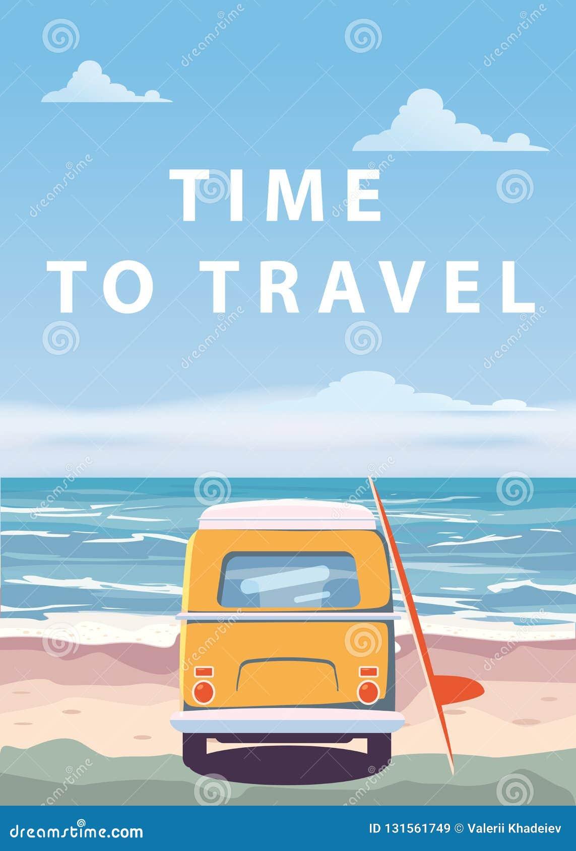 旅行,旅行传染媒介例证 海洋,海,海景 冲浪的搬运车,在海滩的公共汽车 您系列节日快乐的夏天 海洋背景