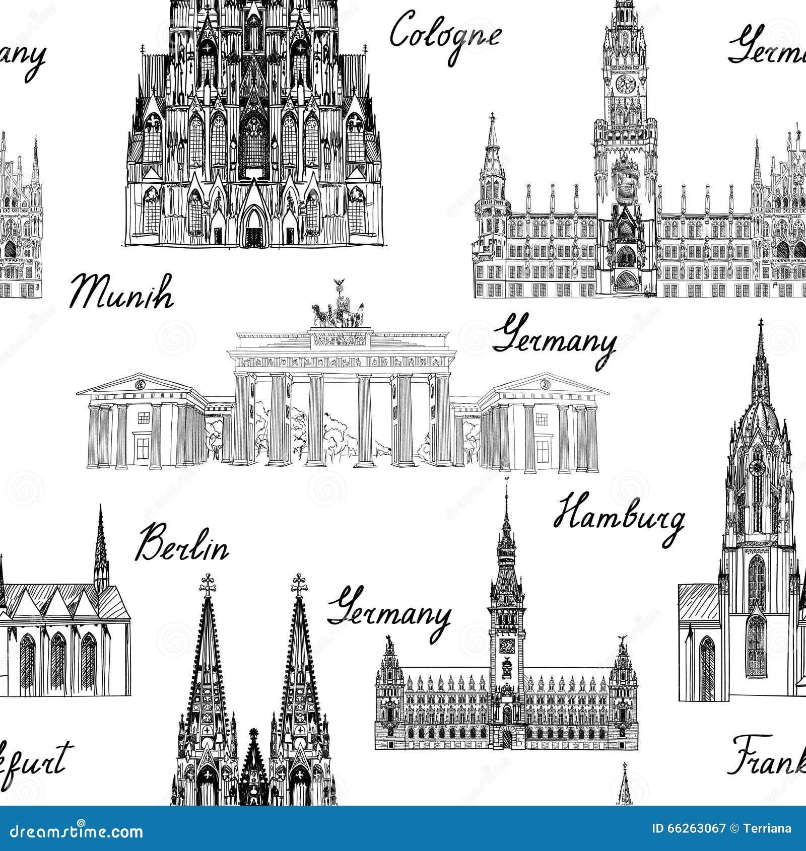 旅行seamlss样式 参观与剪影蜂的德国背景