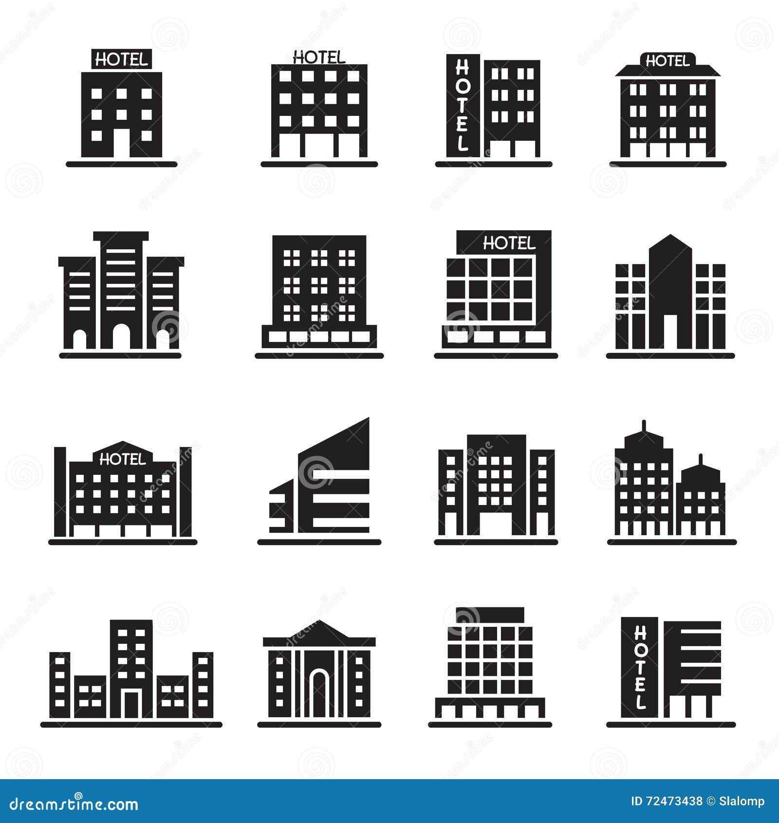 旅馆大厦,办公室塔,大厦象设置了例证