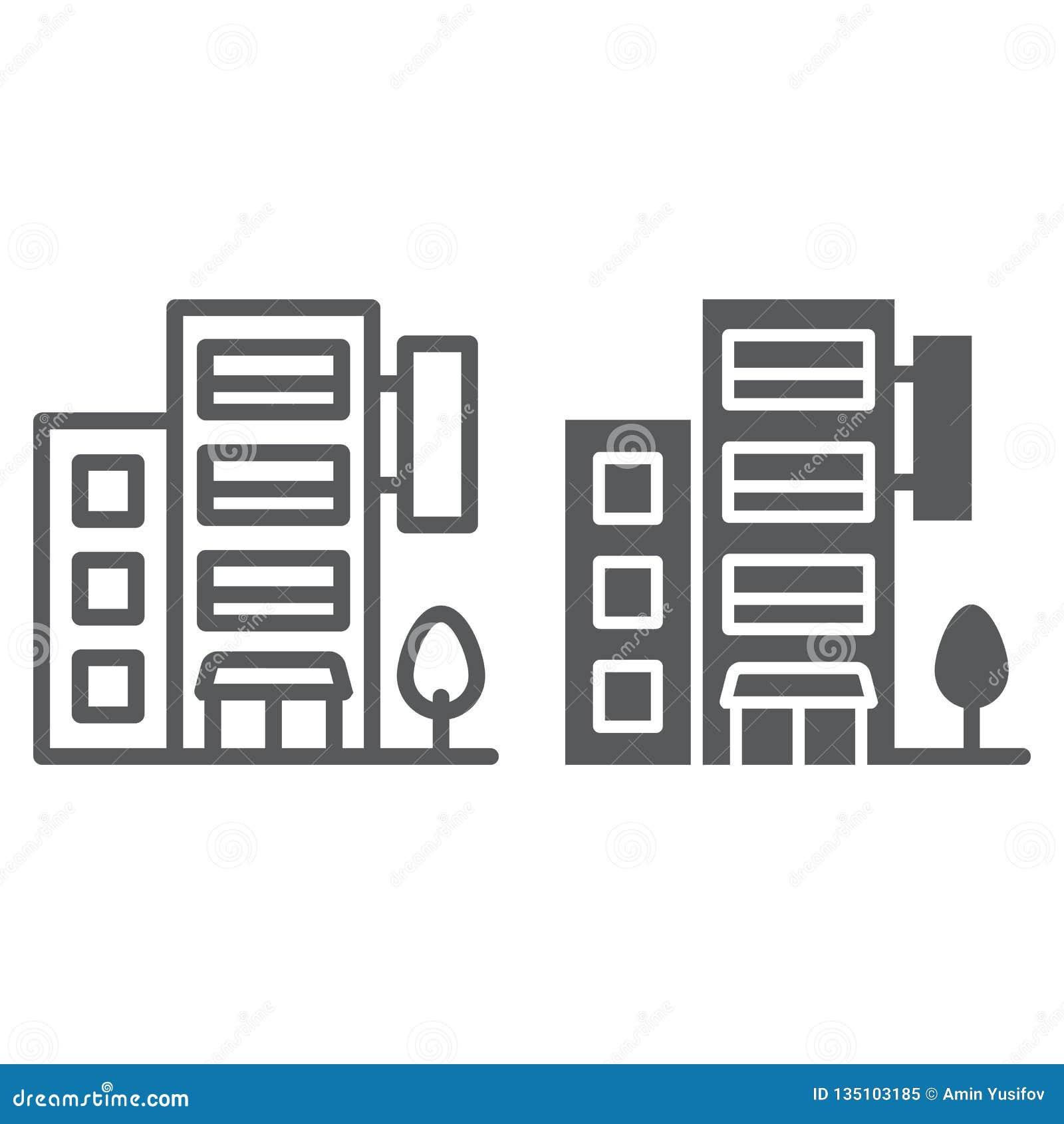 旅馆建筑限界和纵的沟纹象、旅行和旅游业,公寓标志向量图形,在白色的一个线性样式