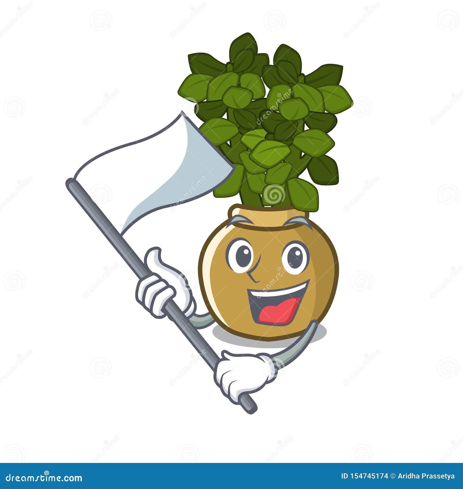 旗子玉植物在动画片词根增长