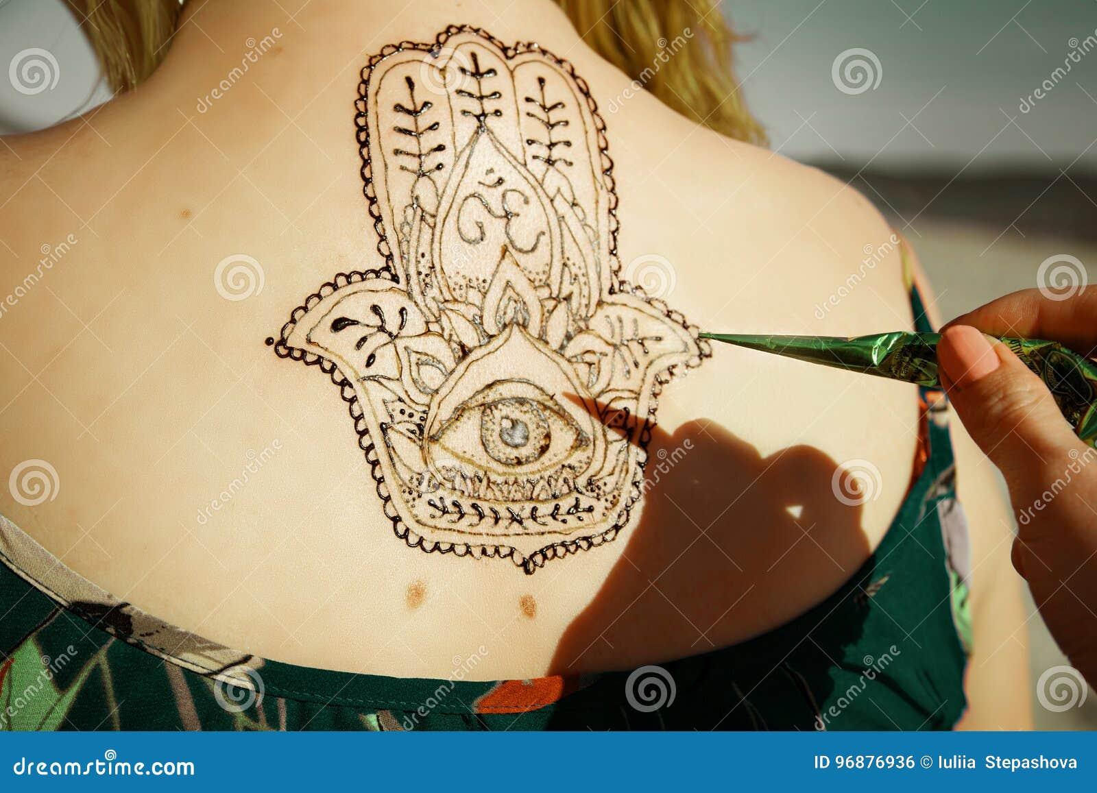 无刺指甲花纹身花刺mehendy被绘的后面