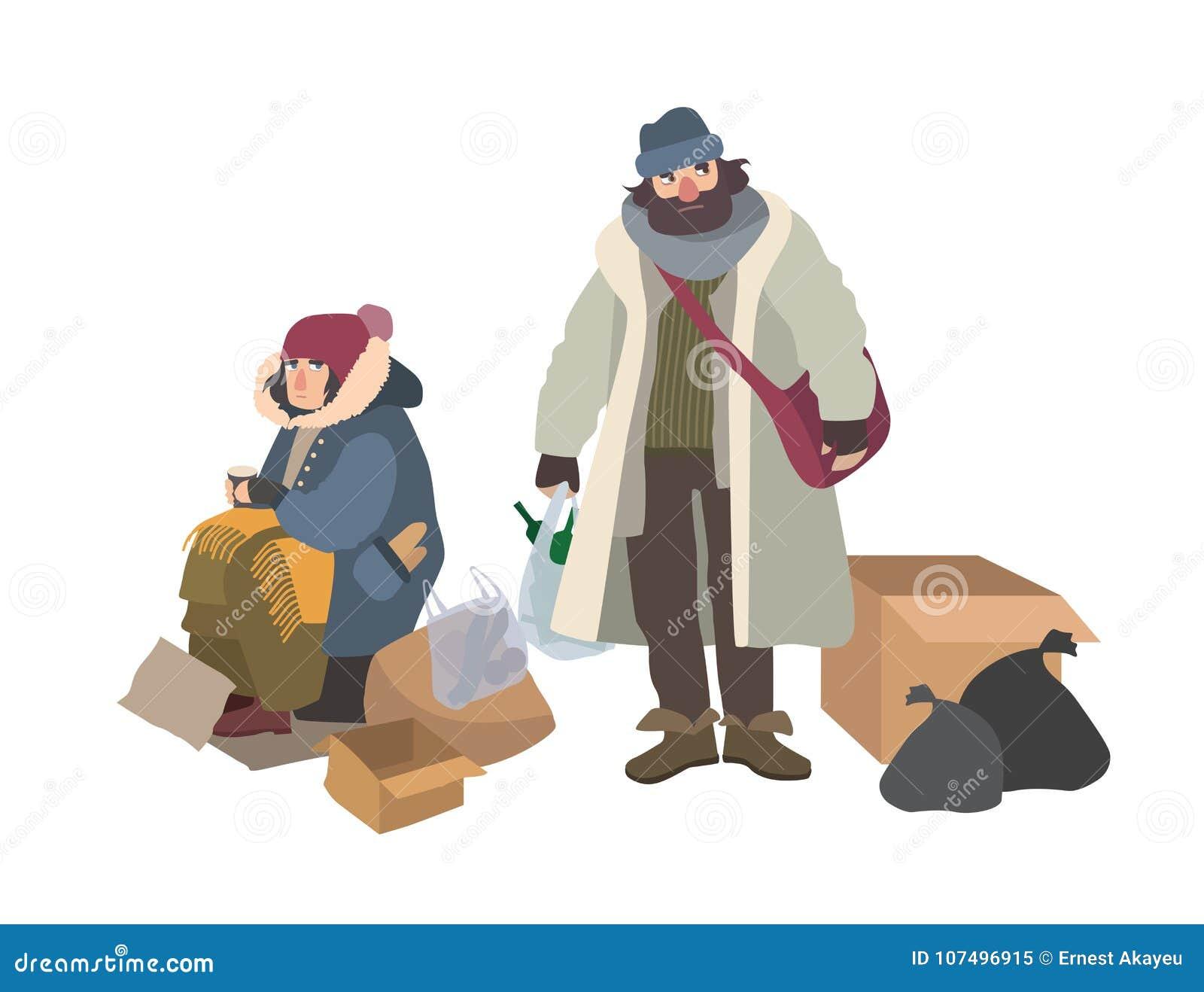 无家可归的男人和妇女乞求为在街道上的金钱 对二赖子、叫化子、瘪三或者地痞 可怜的男性和女性