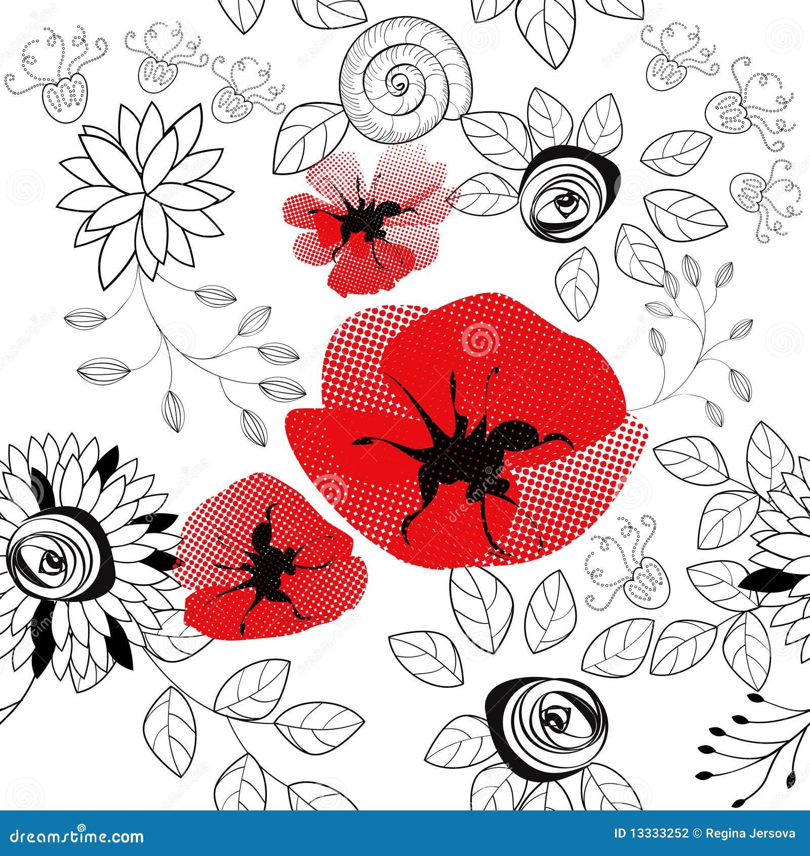 无缝抽象花卉的模式