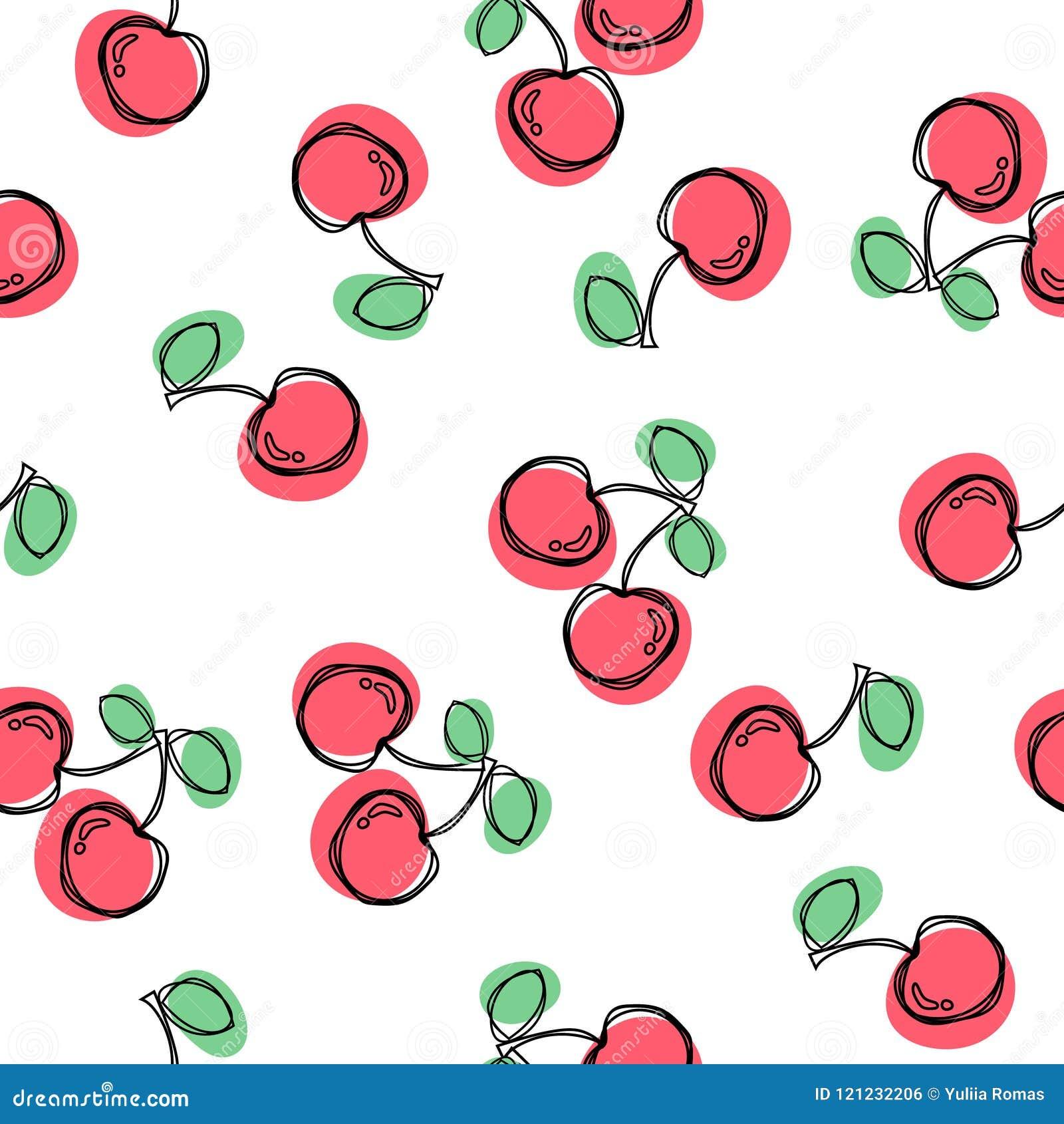 无缝樱桃的模式 有益于纺织品,包裹,墙纸等等 在白色背景隔绝的甜红色成熟樱桃 向量