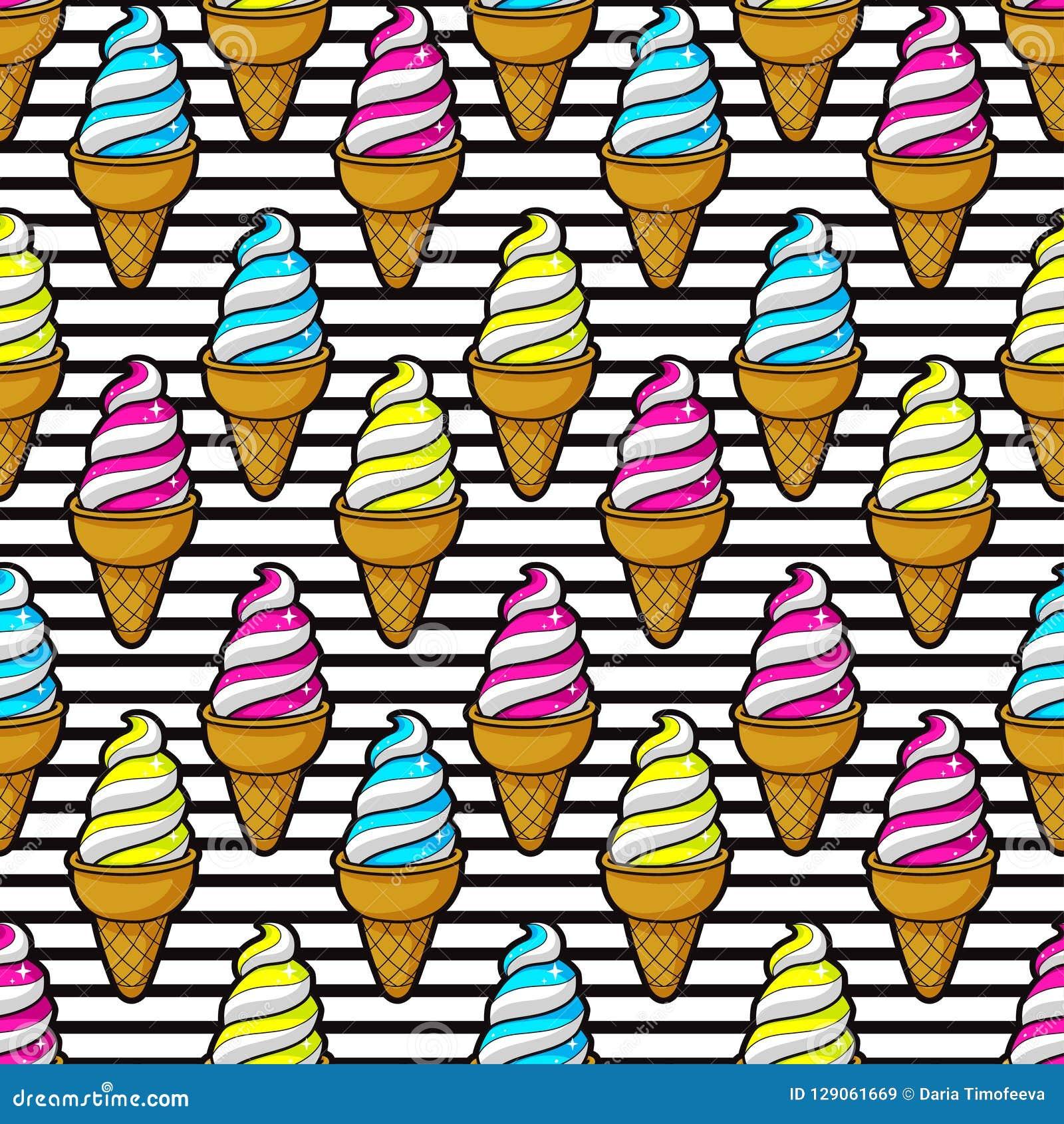 无缝的五颜六色的冰淇凌