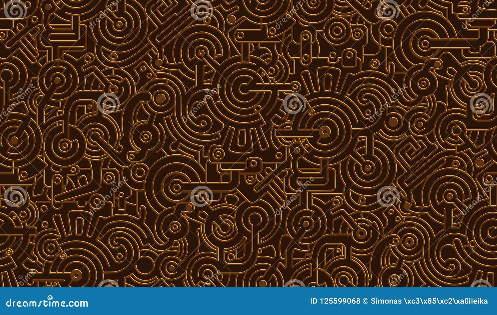 无缝的传染媒介机械样式纹理 查出 Steampunk 金属 古铜,铜