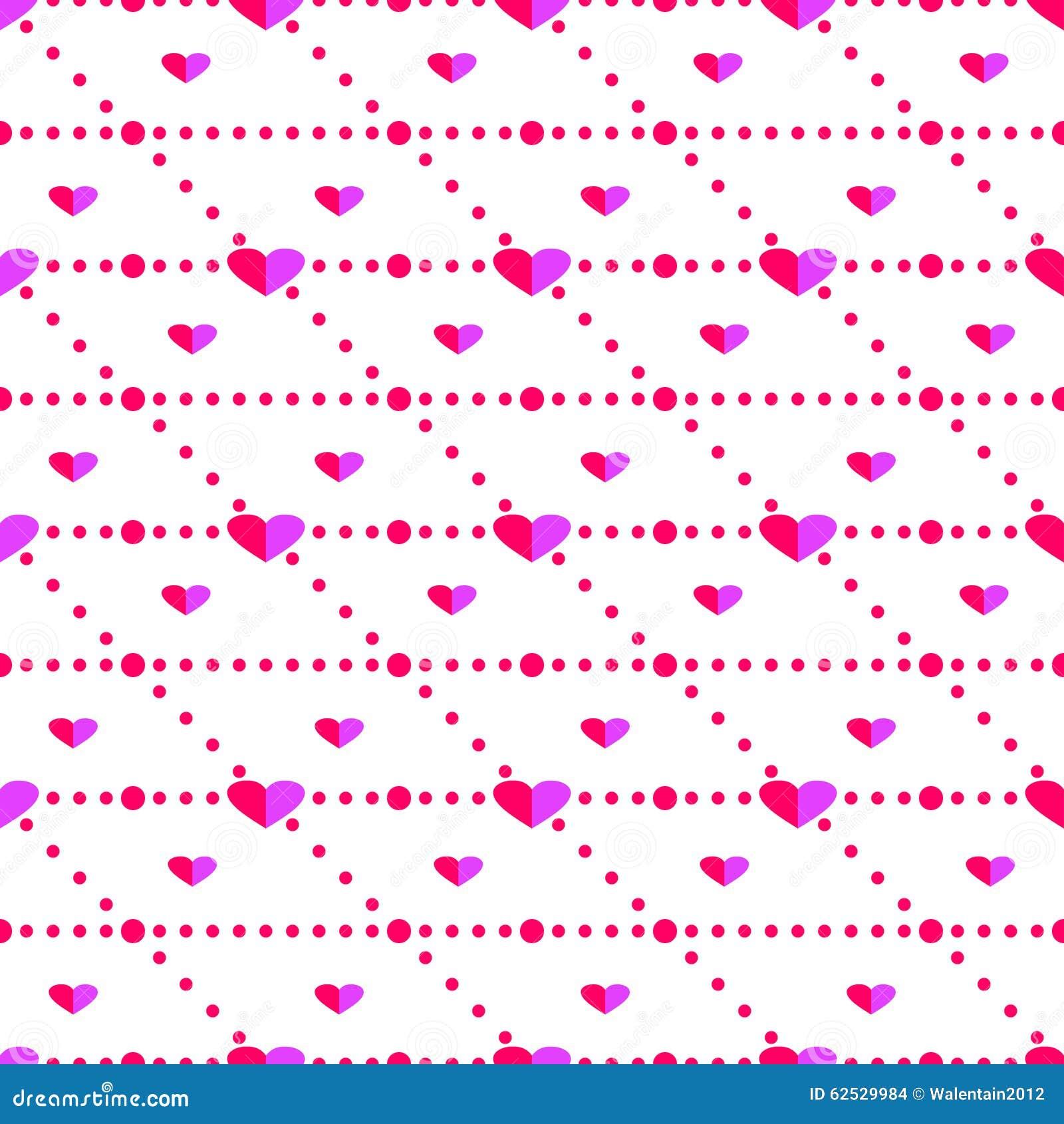无缝的传染媒介样式,与心脏的明亮的桃红色对称背景