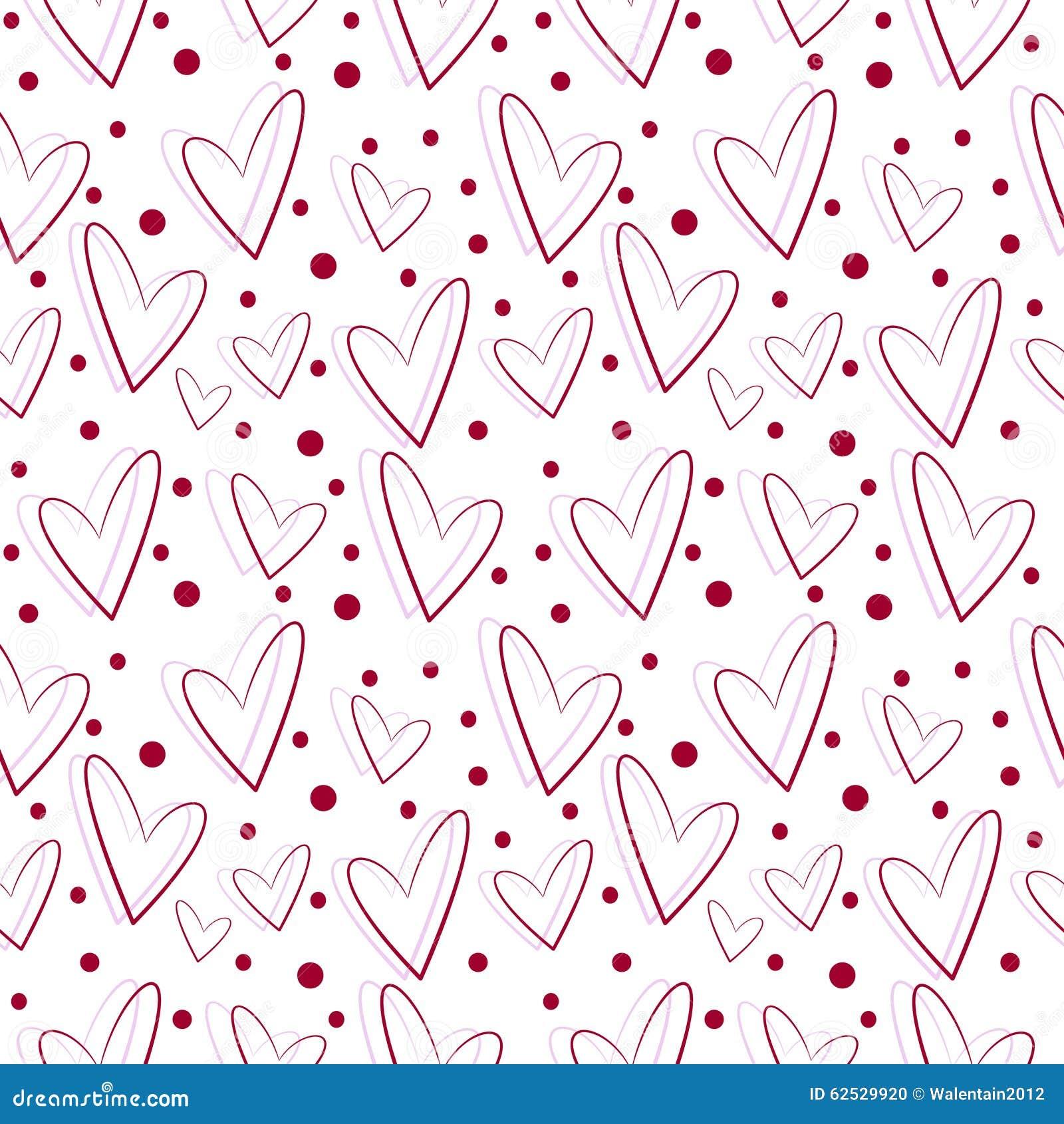 无缝的传染媒介样式,白色背景与红色和桃红色心脏