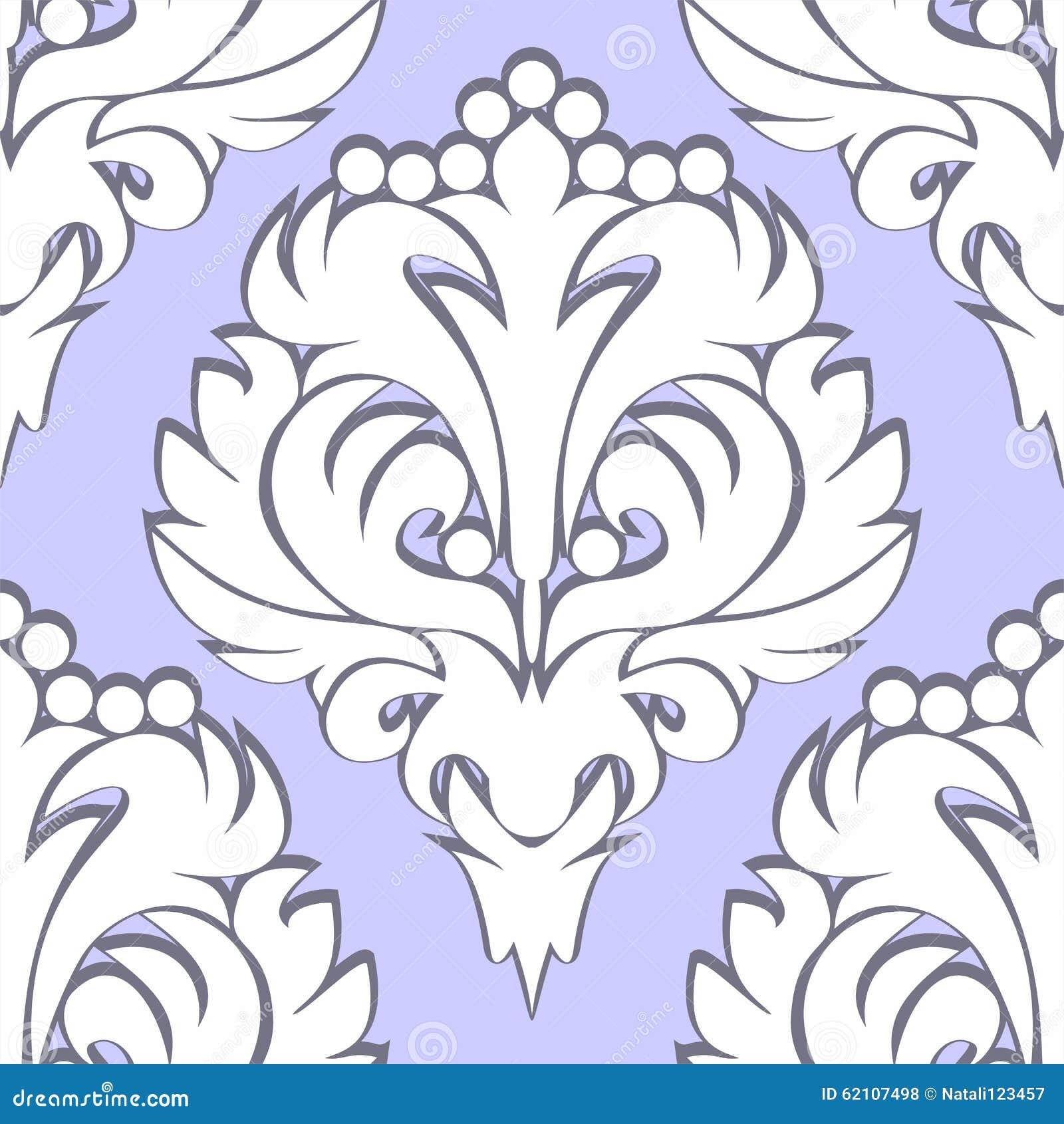 无缝的减速火箭的花卉样式-在蓝色的白色