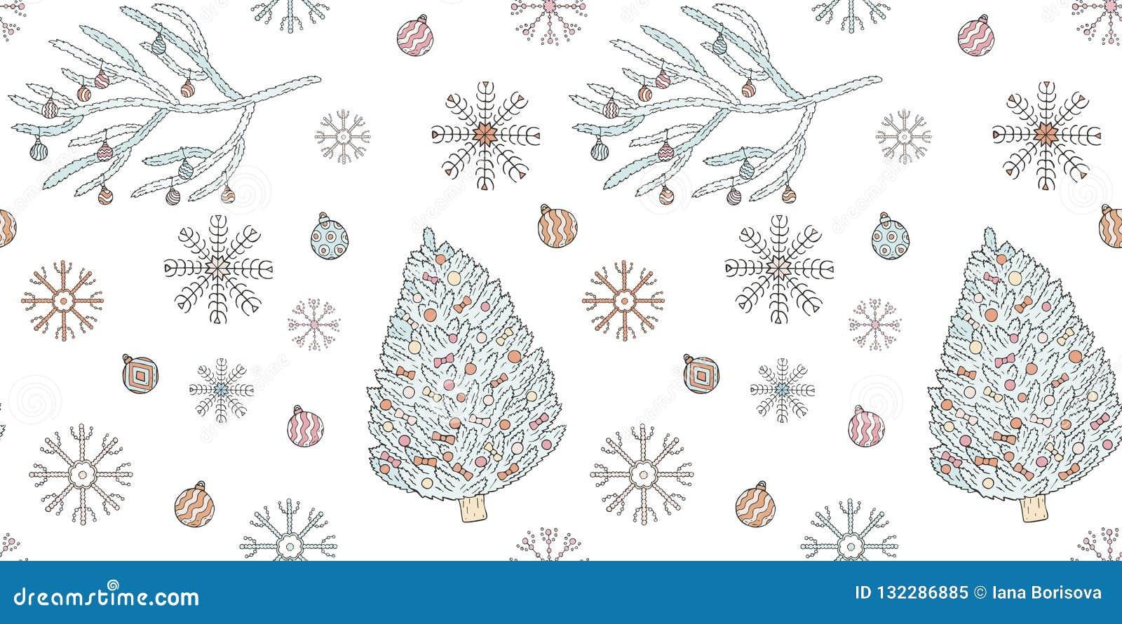 无缝的圣诞节和新年样式 圣诞树,圣诞树分支、圣诞节球和雪花在一白色backg