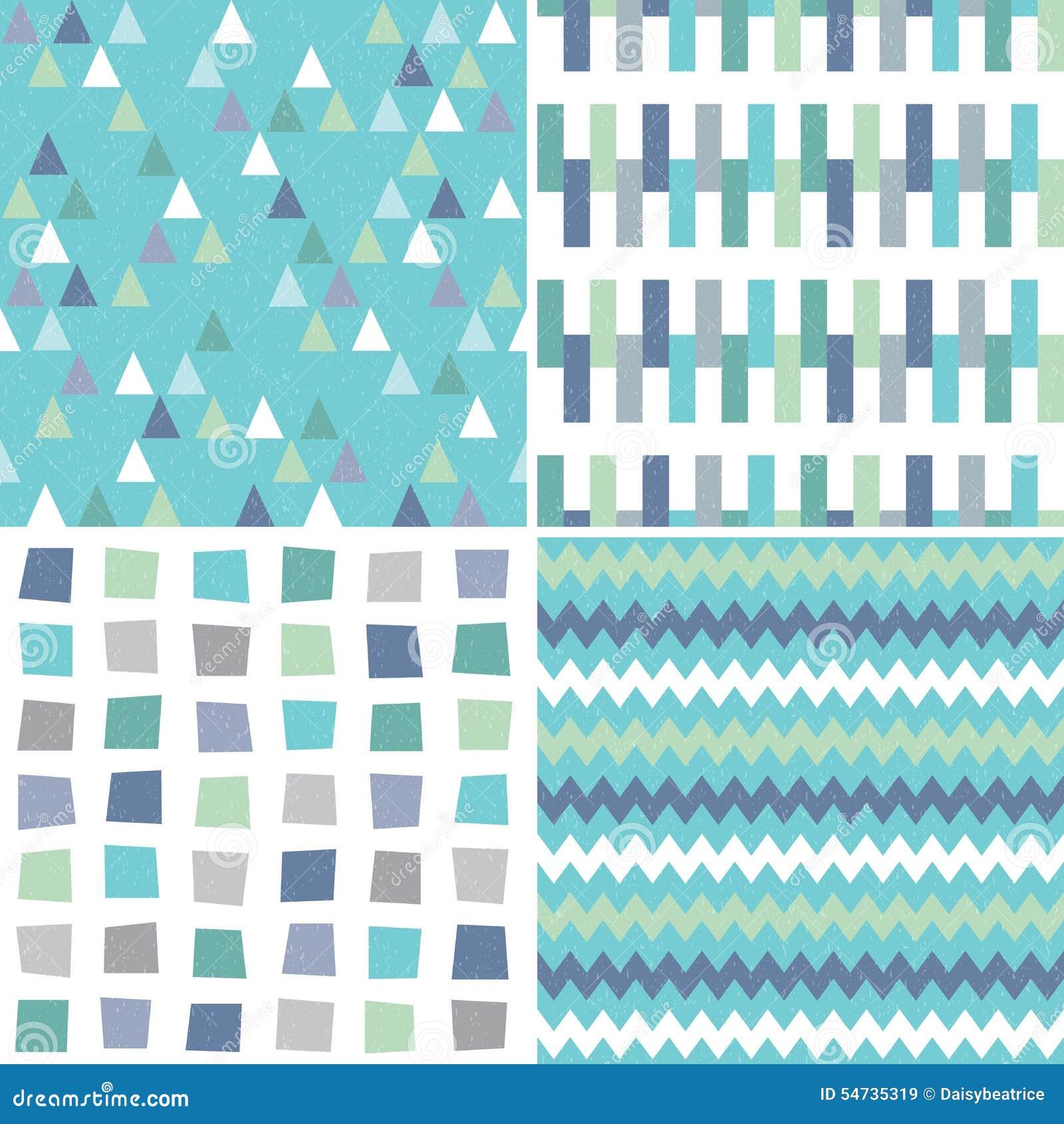 无缝的在水色蓝色和灰色的行家几何样式