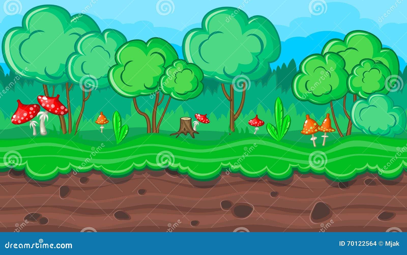 无缝的夏天森林风景用游戏设计的红色蘑菇图片