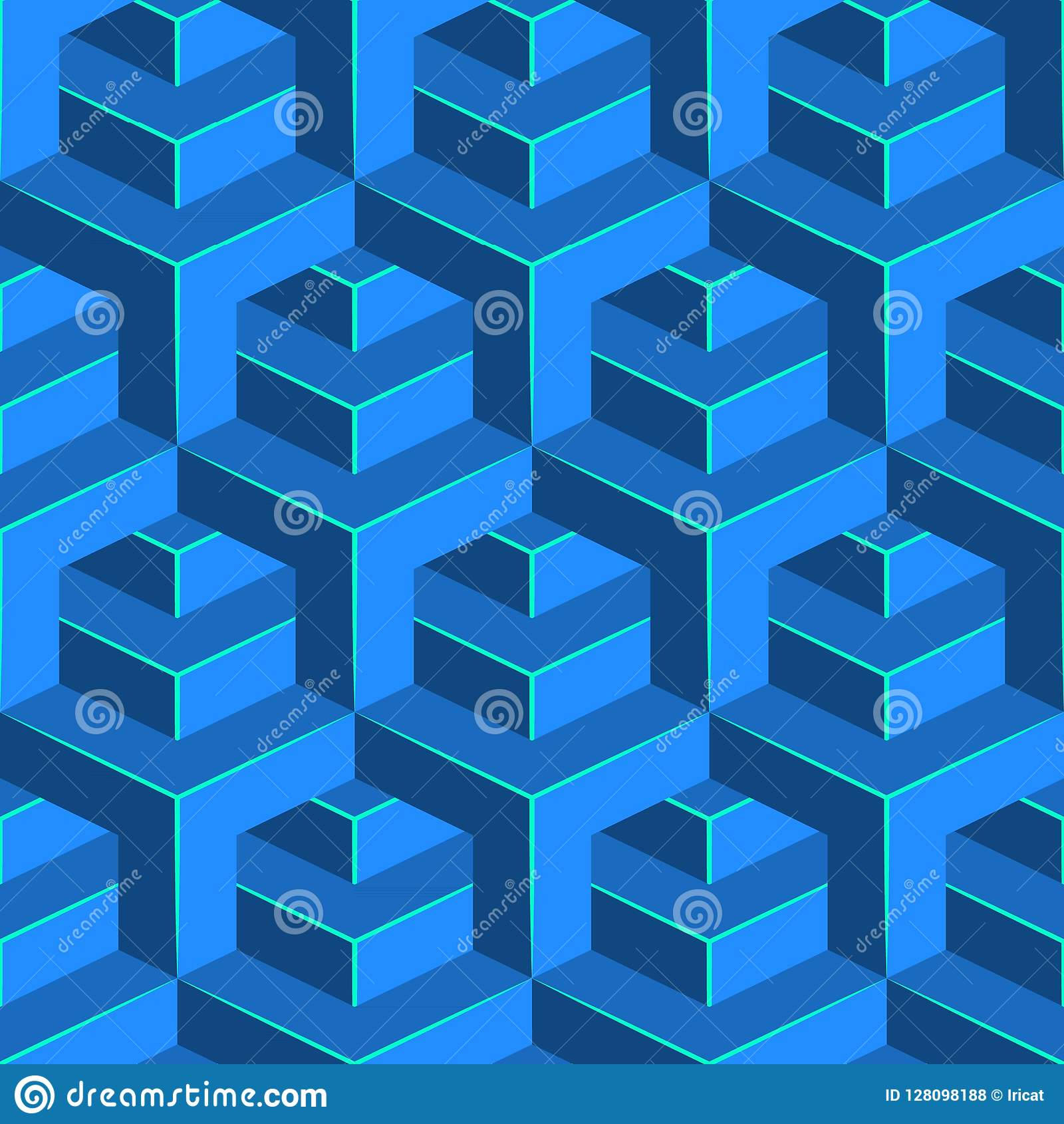 无缝的容量样式 等量几何背景 光滑的立方体装饰品