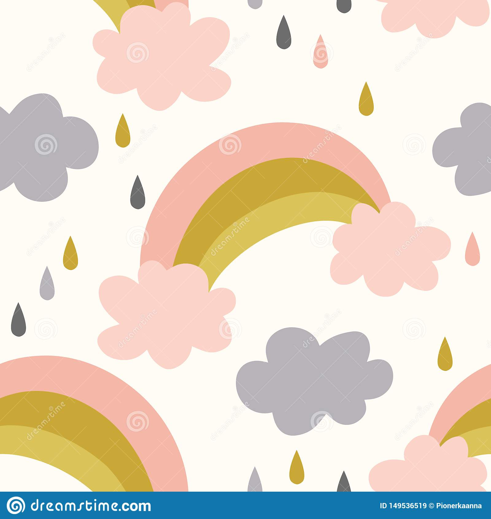 无缝的彩虹和云彩样式传染媒介背景