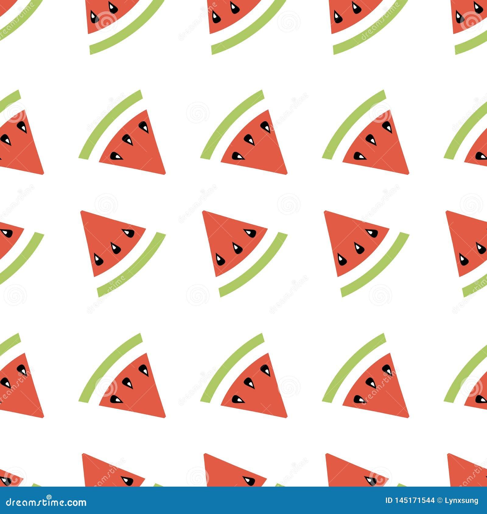 无缝的摘要样式几何例证用瓜、夏天墙纸织物印刷的或背景,横幅