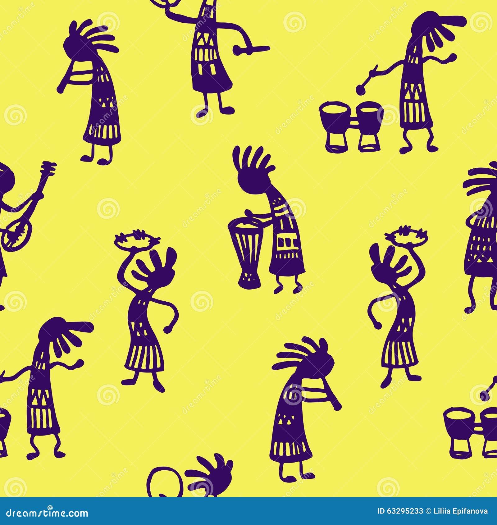 非洲人的生活黄色片_有工具的背景无缝的样式非洲人音乐家在一个黄色背景剪影乱画传染媒介