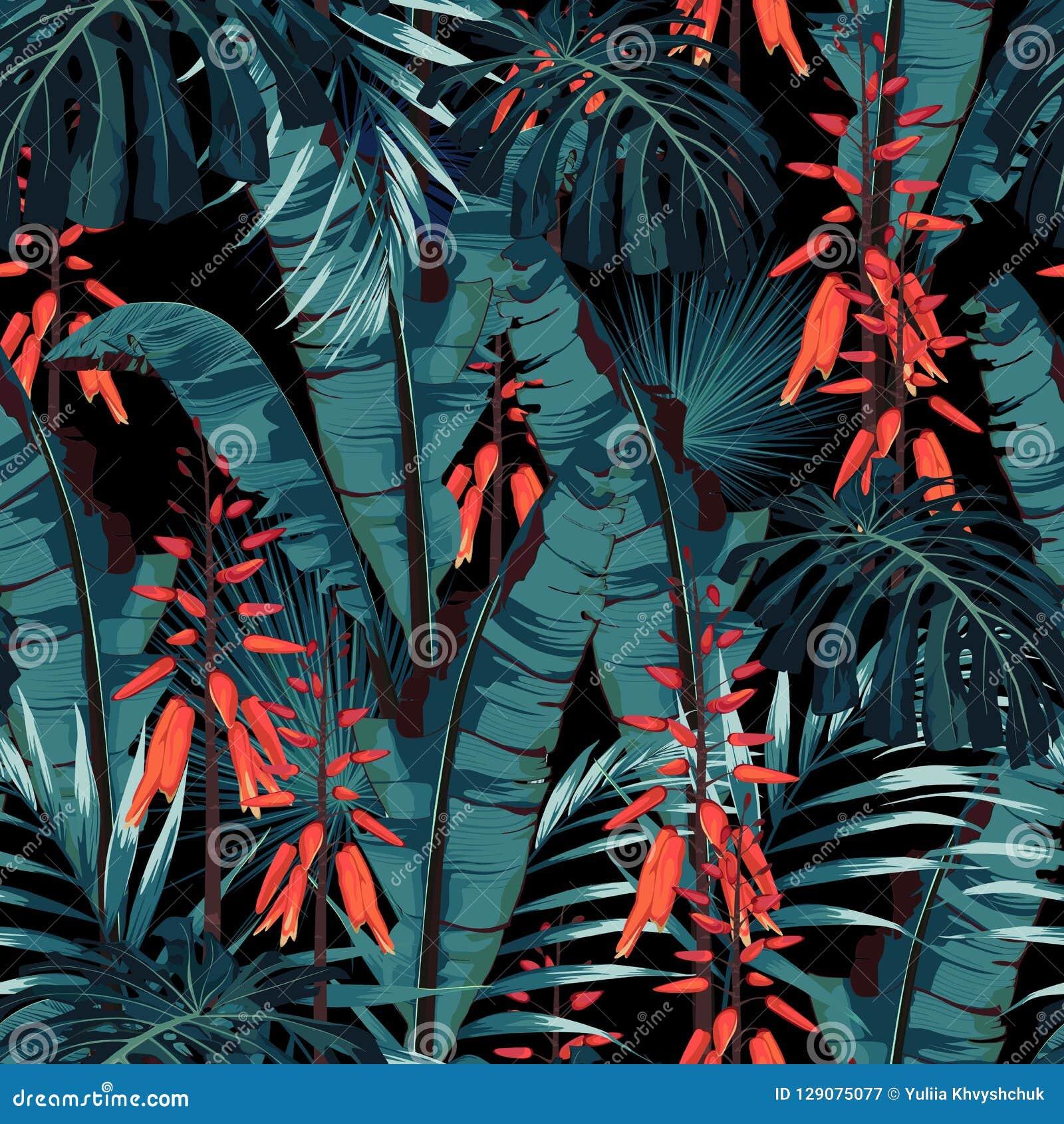 无缝的样式传染媒介花卉水彩样式设计:在绽放的多汁植物与橙色花和棕榈和香蕉叶子