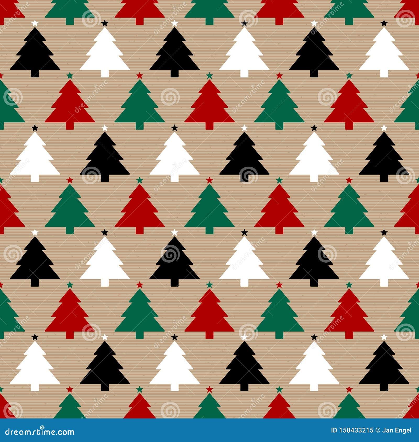 无缝的样式包装纸和圣诞树红色绿色黑白色