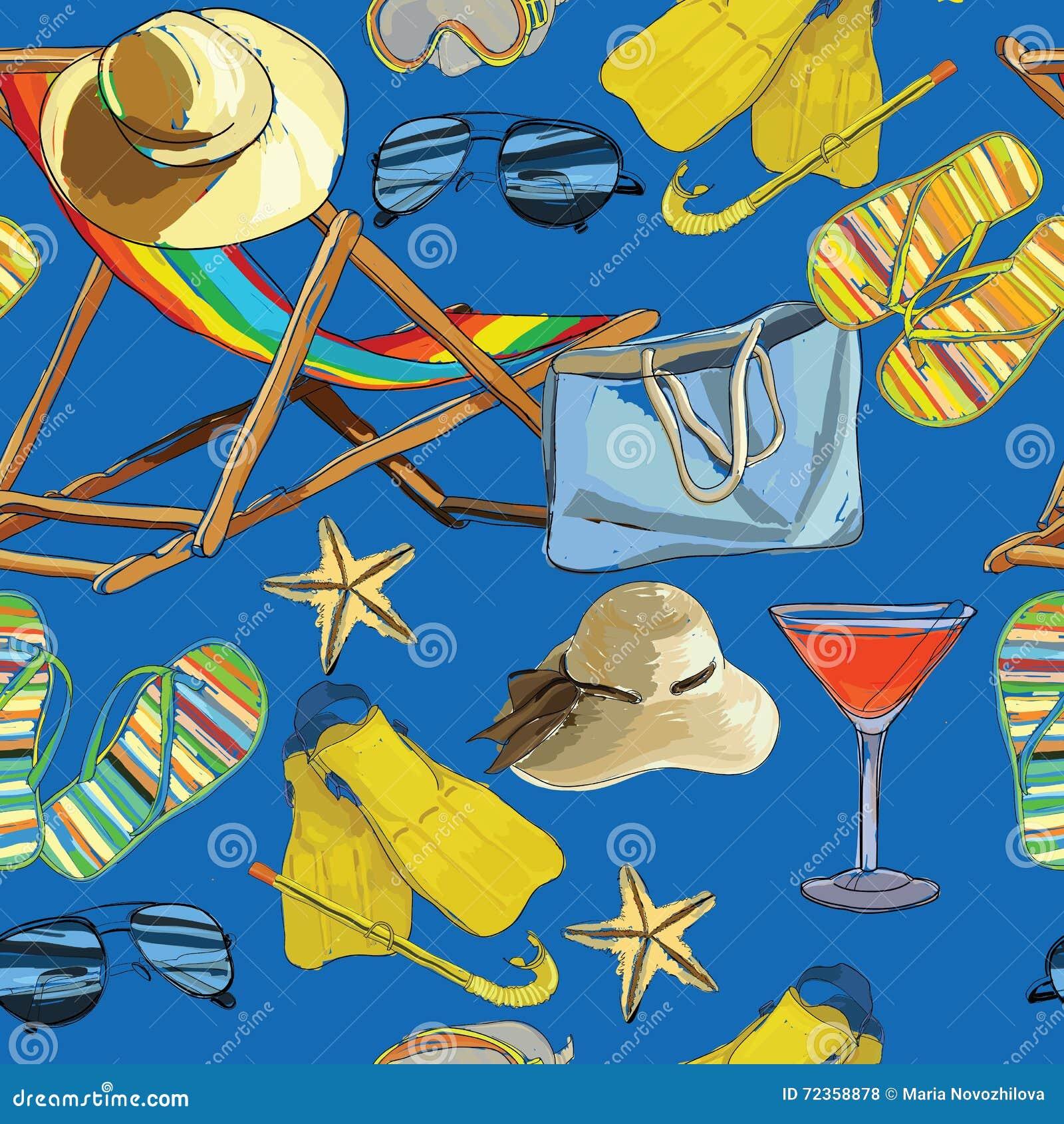 无缝的样式夏天,在沙子的可躺式椅与帽子, sunglass