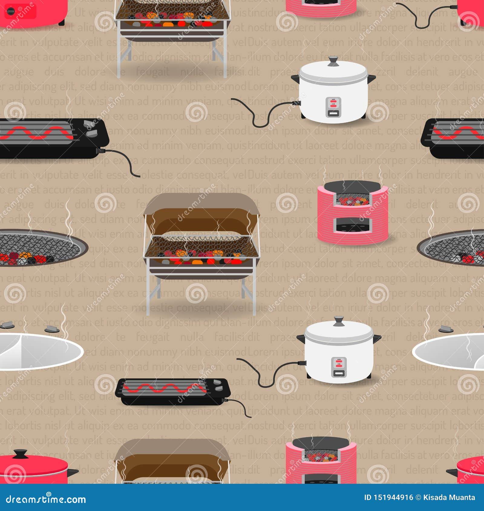 无缝的样式套有平底锅锅炉坦克多士炉木炭电饭锅的厨房设备 r