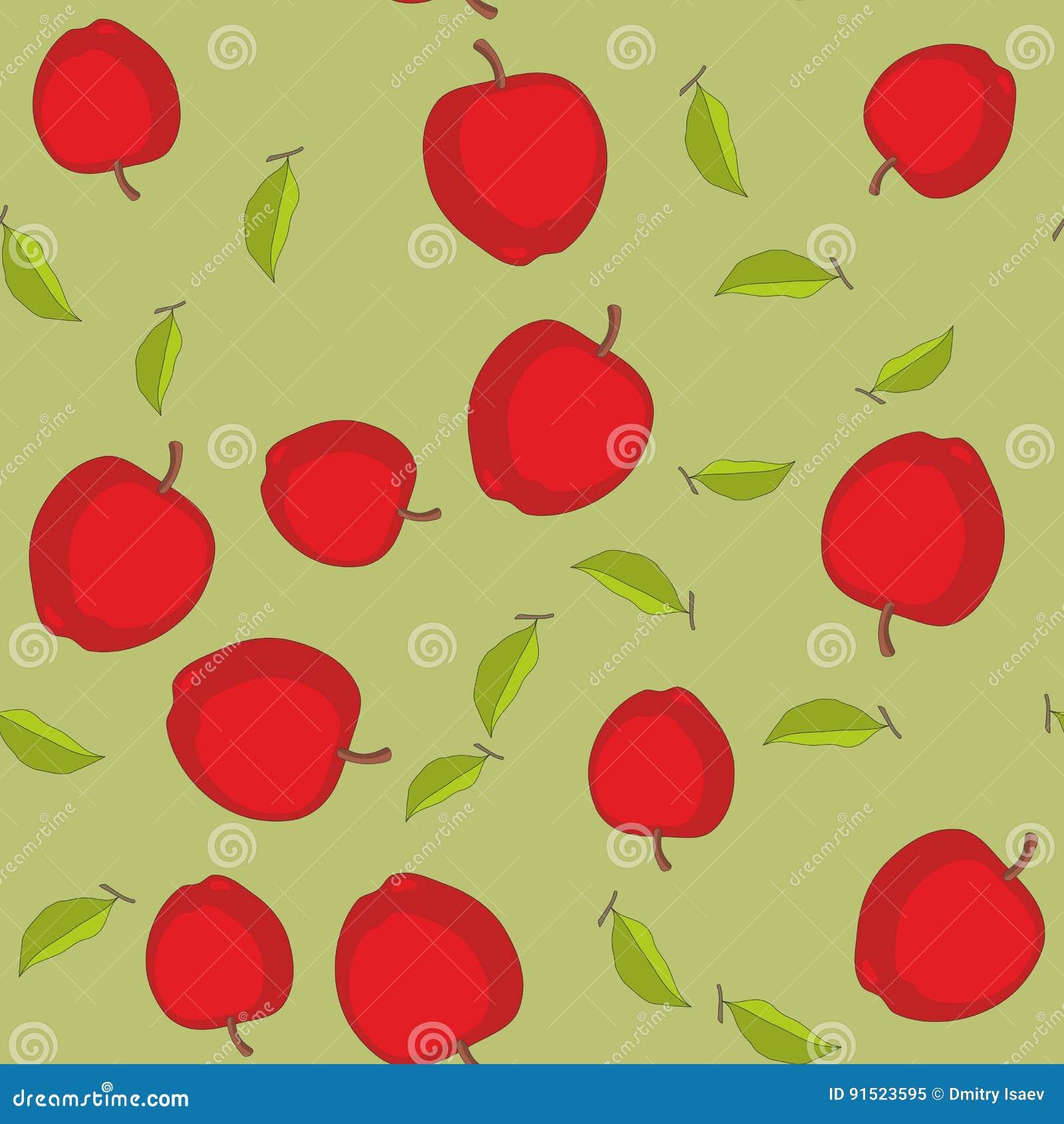 无缝的样式用动画片苹果 重复背景的果子 不尽的印刷品纹理 织品设计 墙纸596