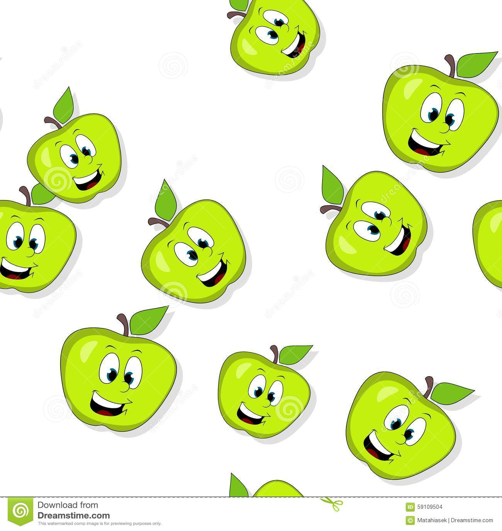 无缝的样式用在白色的微笑的苹果