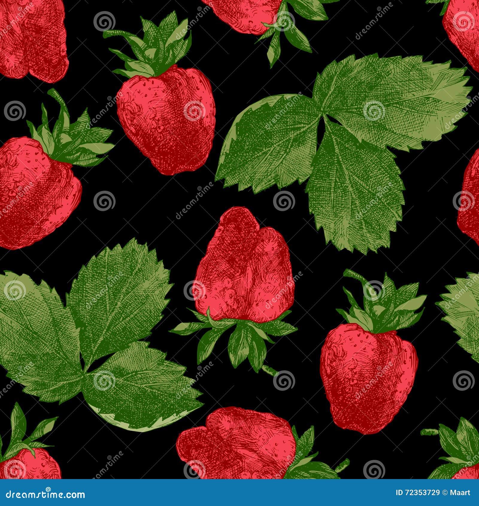 无缝的样式用新鲜的草莓