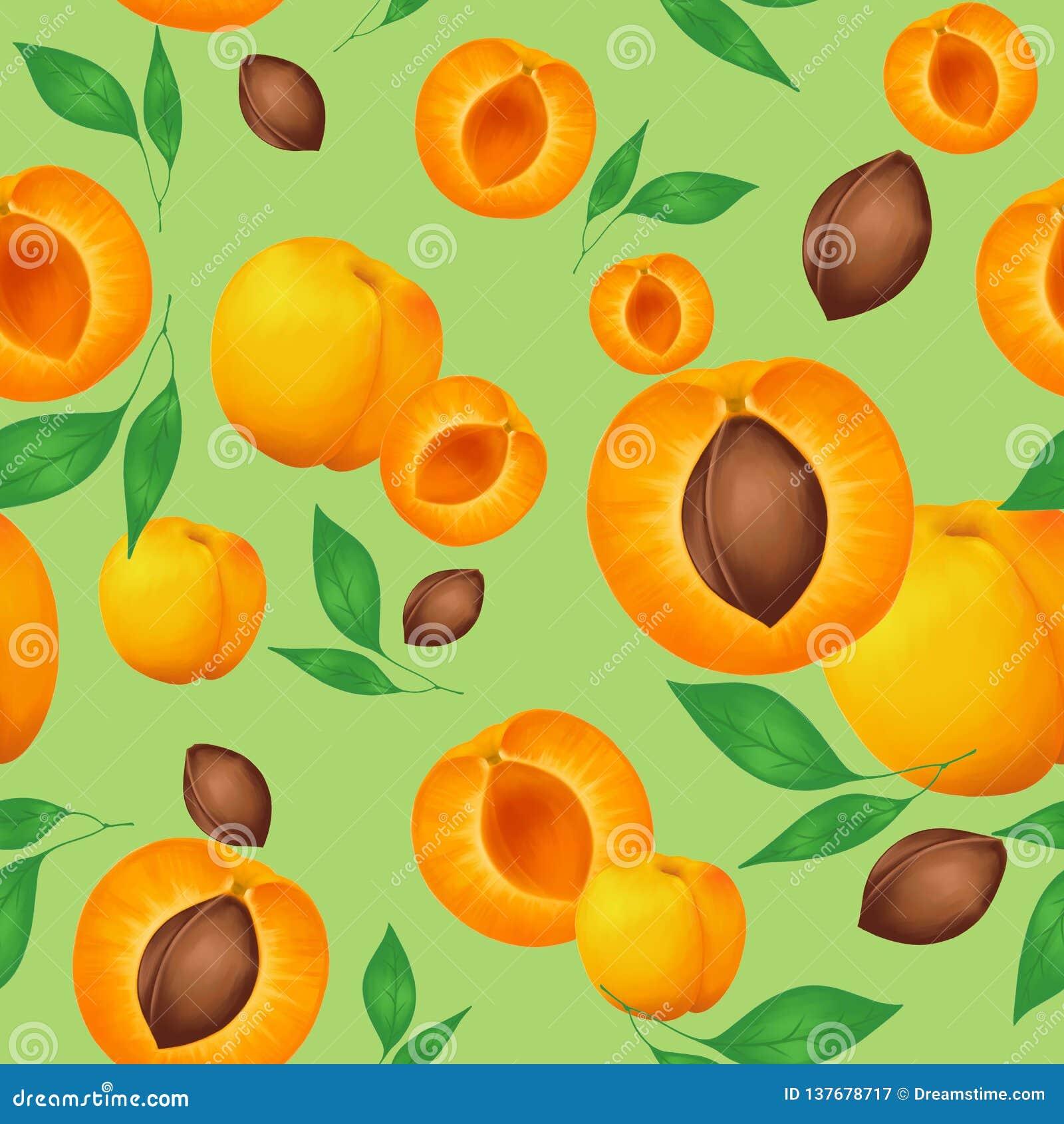 无缝的样式用杏子和绿色叶子在橄榄色的背景