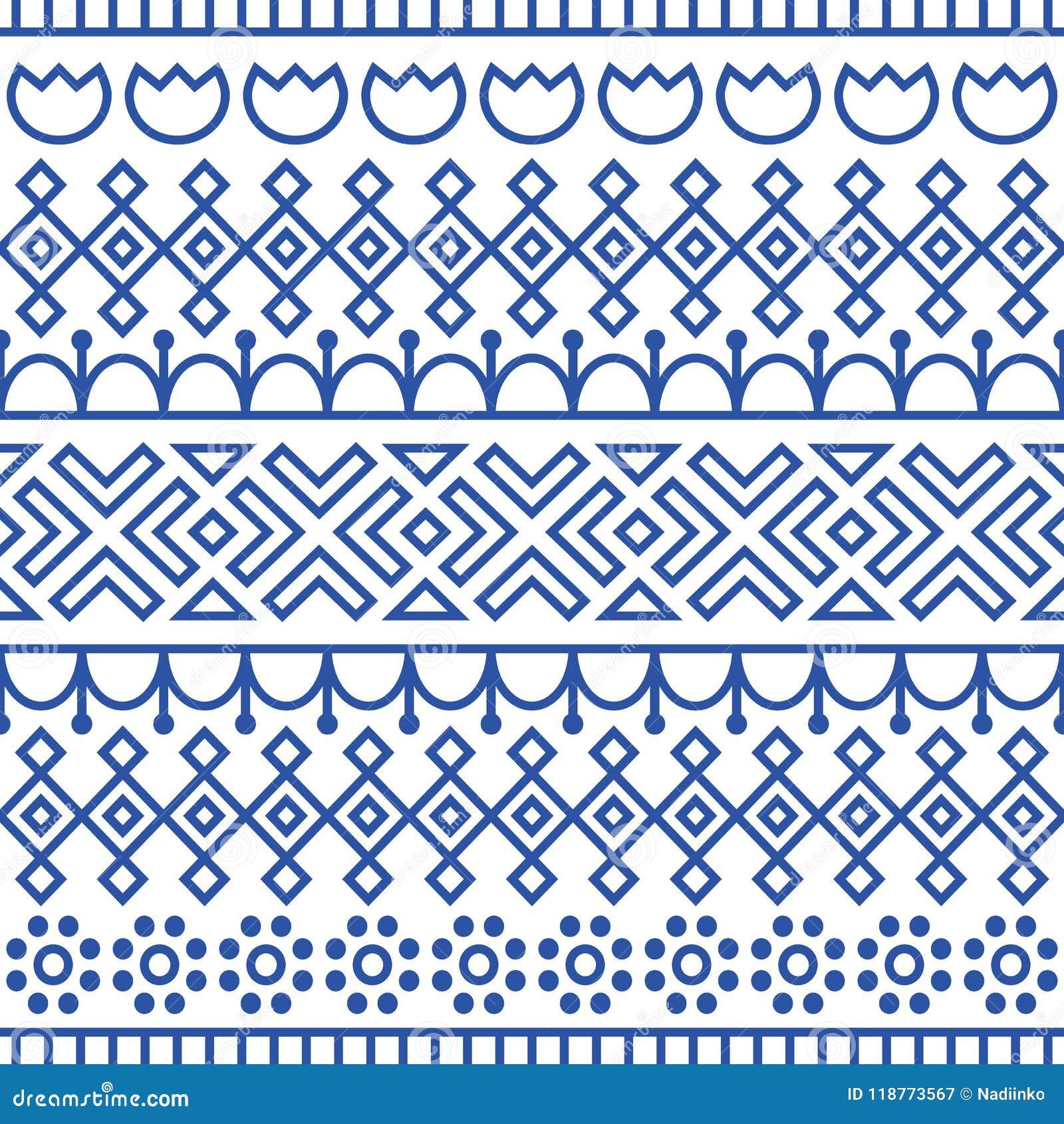 无缝的样式由斯堪的纳维亚人,芬兰民间艺术启发了 北欧蓝色和白色背景 重复的装饰