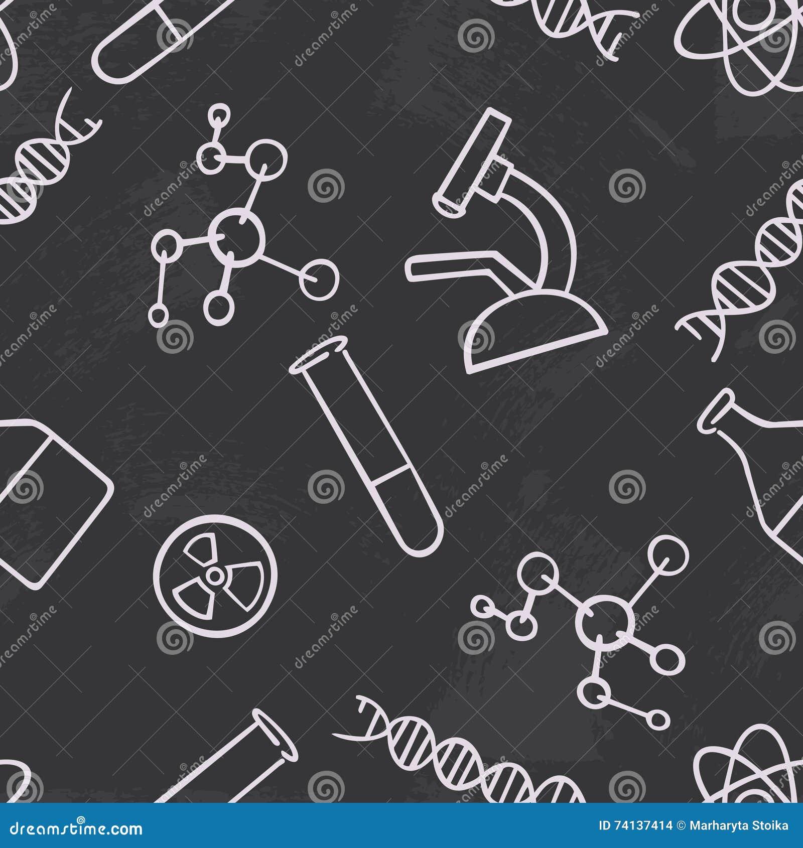 无缝的样式背景化学 科学传染媒介 墙纸化学制品仪器 大学和学校教育 illust
