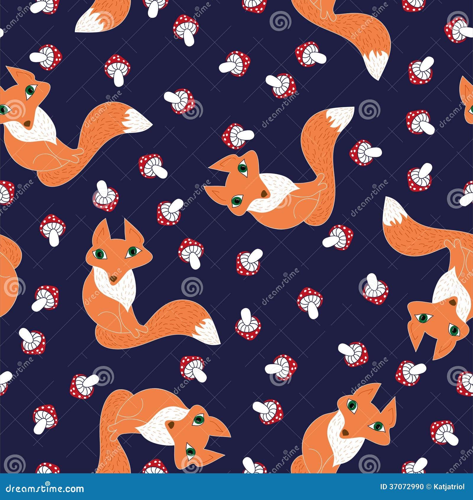 无缝的样式逗人喜爱的狐狸和蘑菇