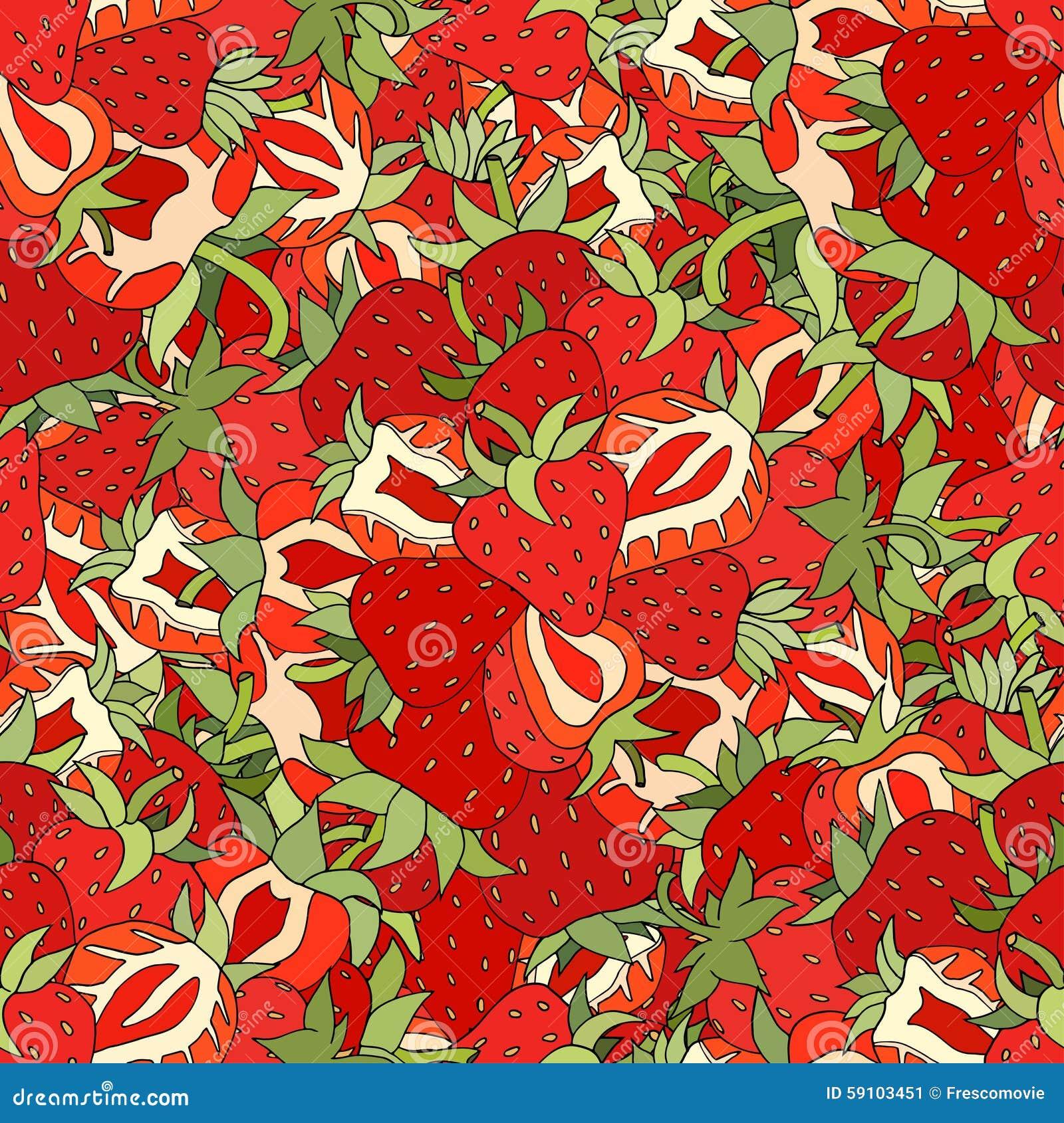 无缝的样式集合红色草莓