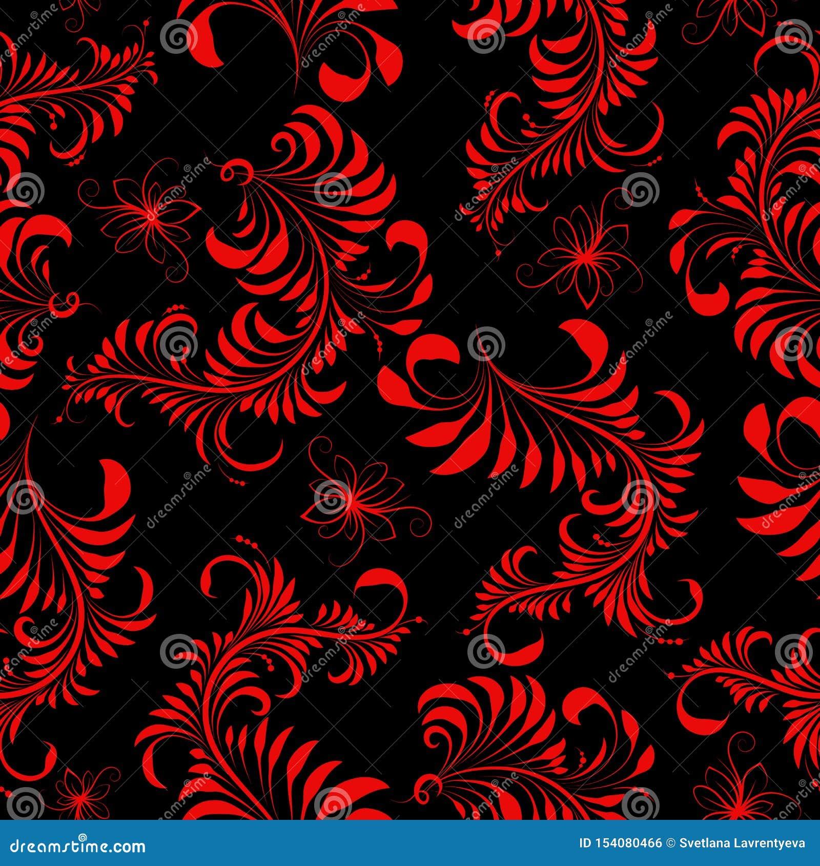 无缝的样式,红色绘画,在黑背景的hohloma,