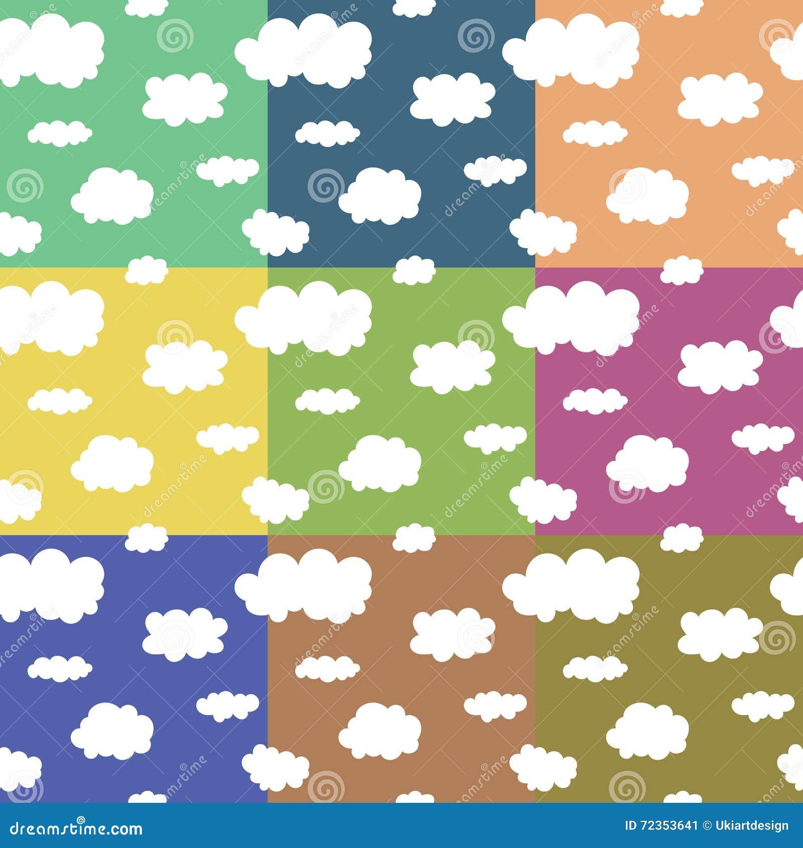无缝的模式 在天空的滑稽的云彩