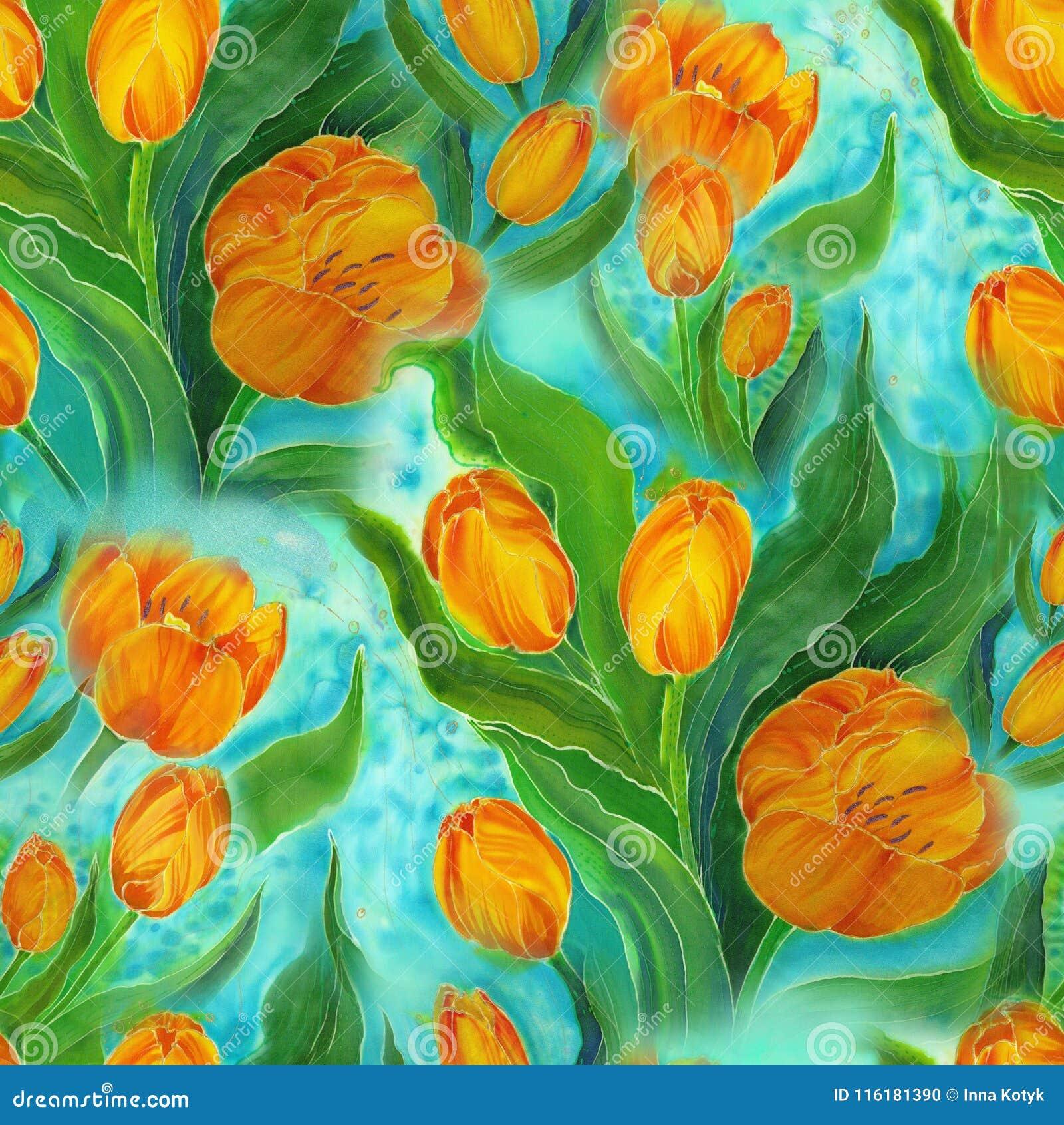 无缝的模式 郁金香 花、叶子和芽拼贴画在水彩背景 装饰的构成 细麻花布
