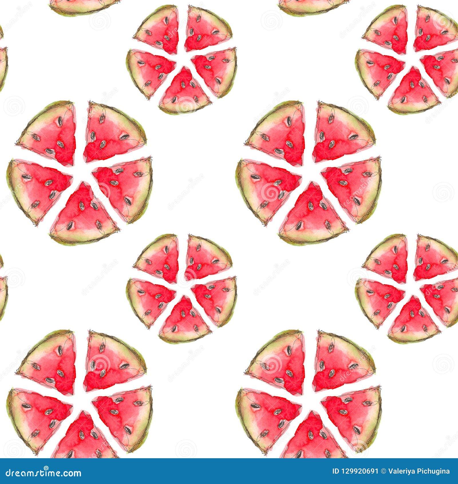 无缝的热带水果样式 与切片的异乎寻常的背景墙纸的,包装纸,织品西瓜