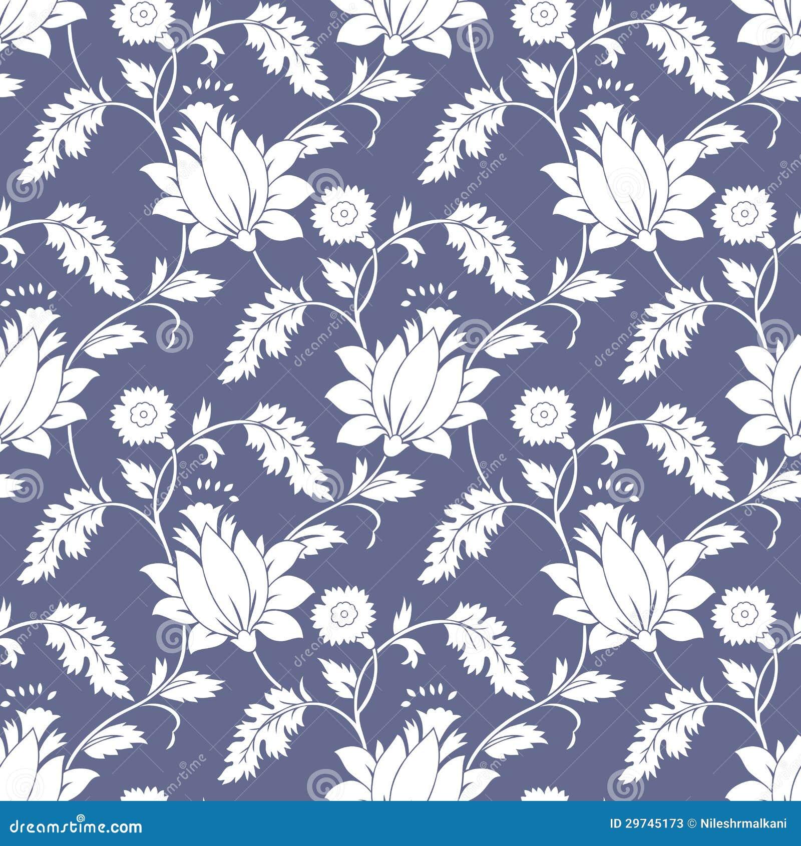 无缝的花梢莲花背景墙纸