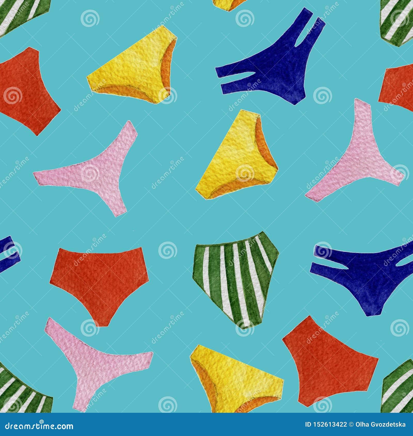 无缝的被隔绝的对象的水彩五颜六色的泳装内裤样式在明亮的蓝色背景的