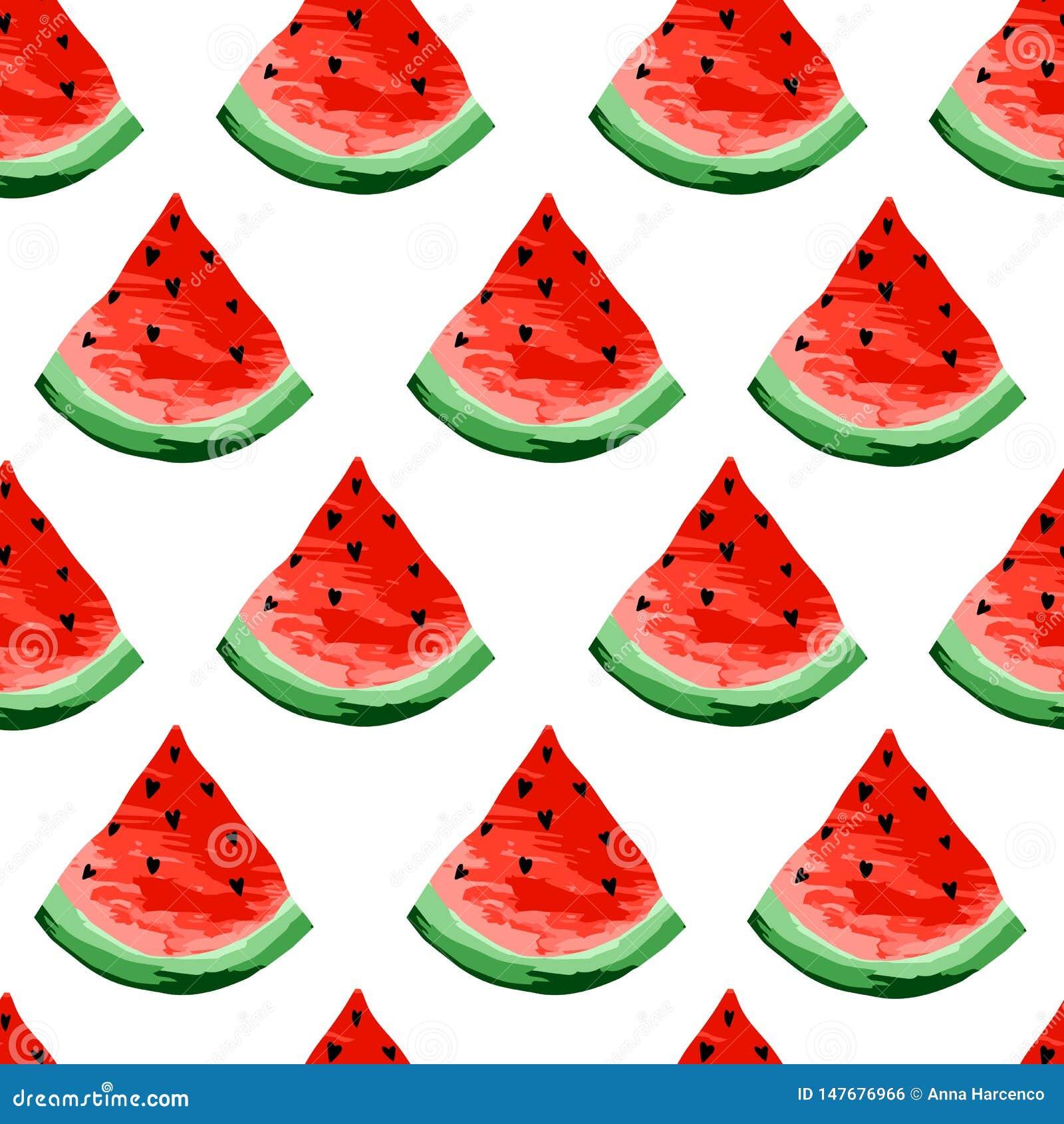 无缝的西瓜样式 切片西瓜,莓果背景 被绘的果子,形象艺术,动画片