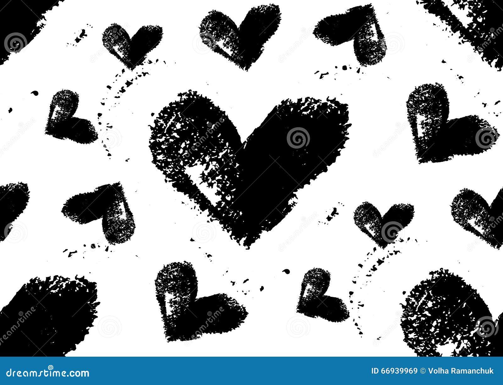 无缝的重点模式 与粗胶边的手画心脏图片