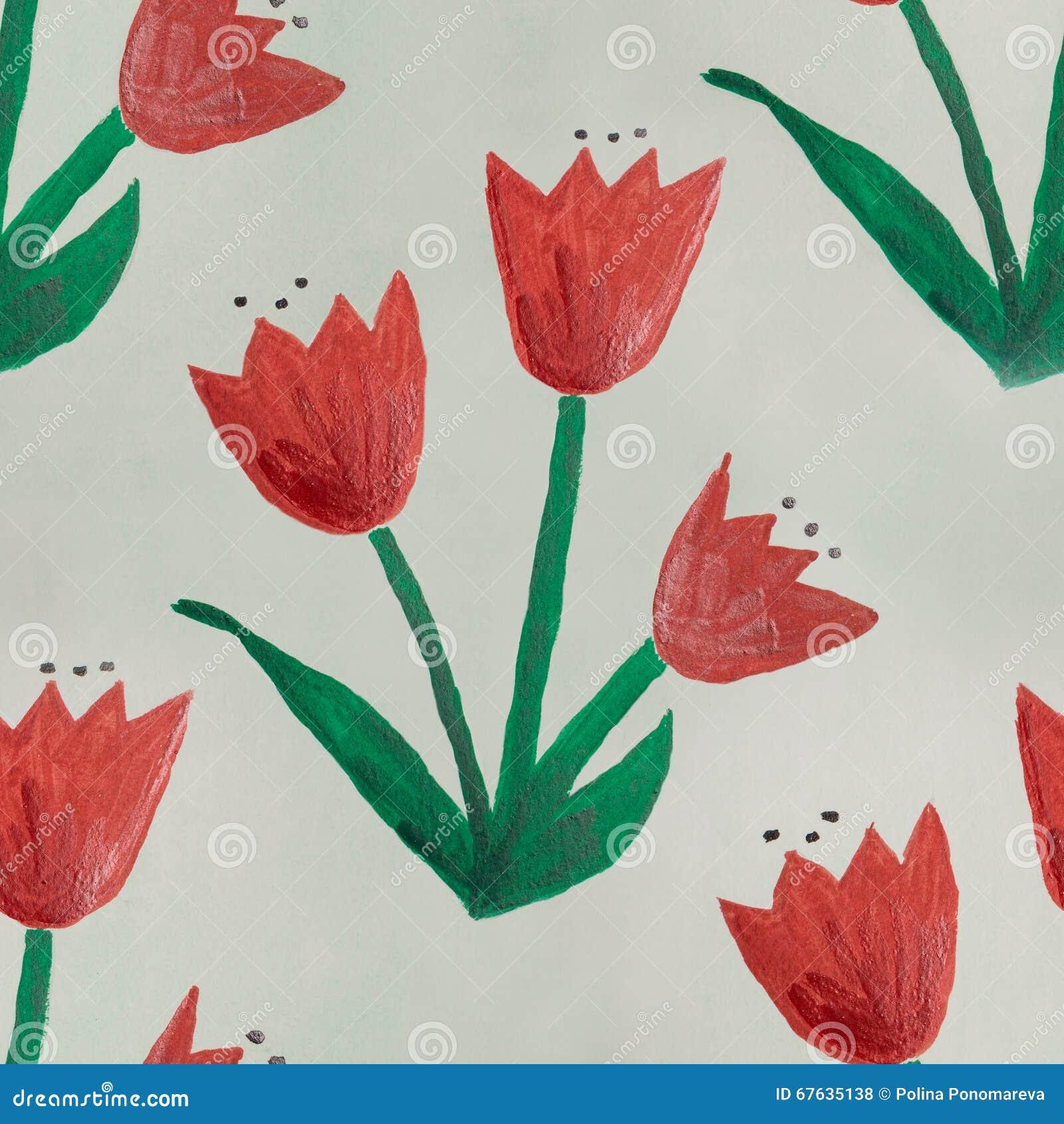 无缝的水彩幼稚花绿色红色手工制造